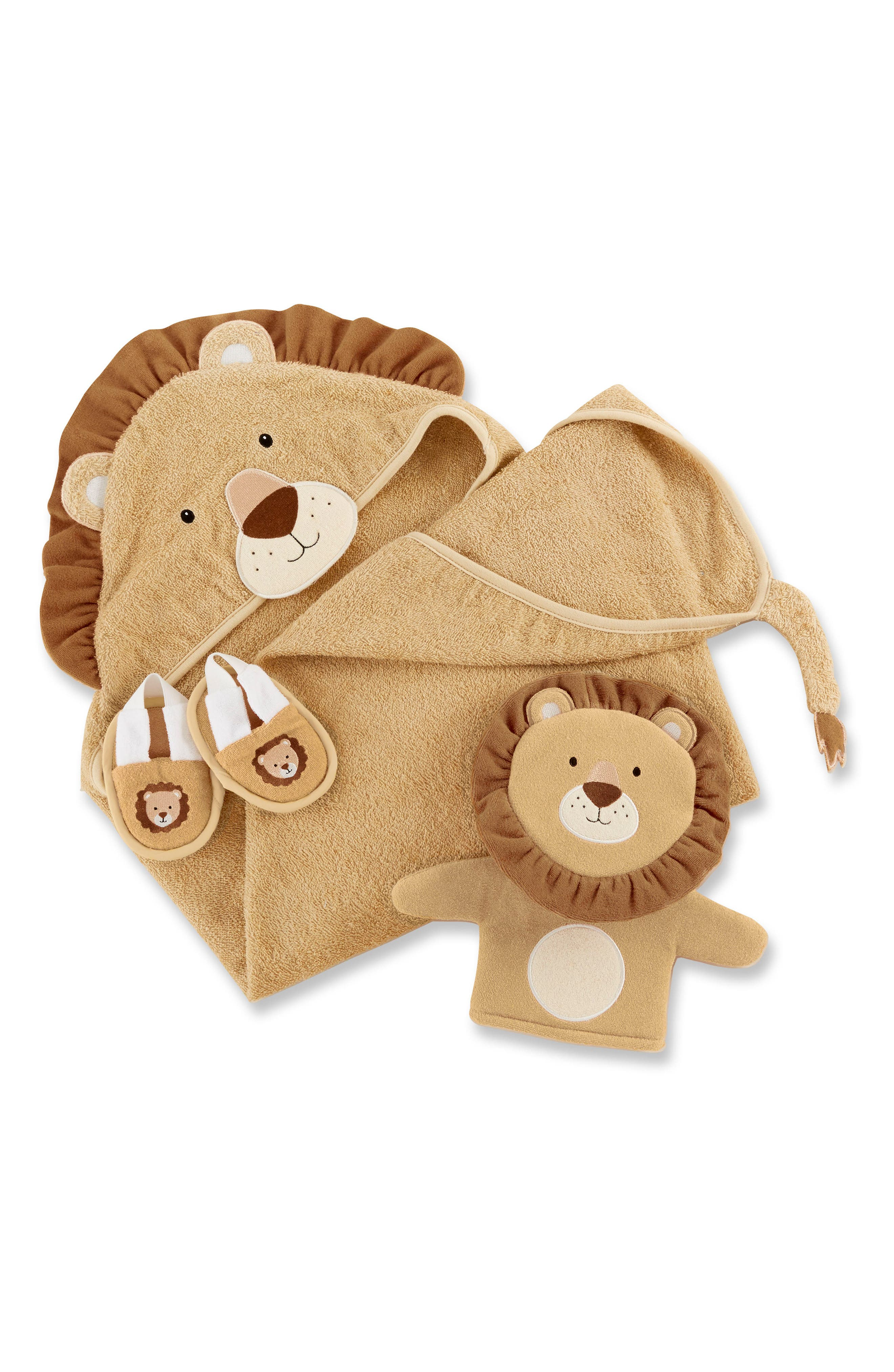 Main Image - Baby Aspen Lion Hooded Robe, Bath Mitt & Slippers Set (Baby)