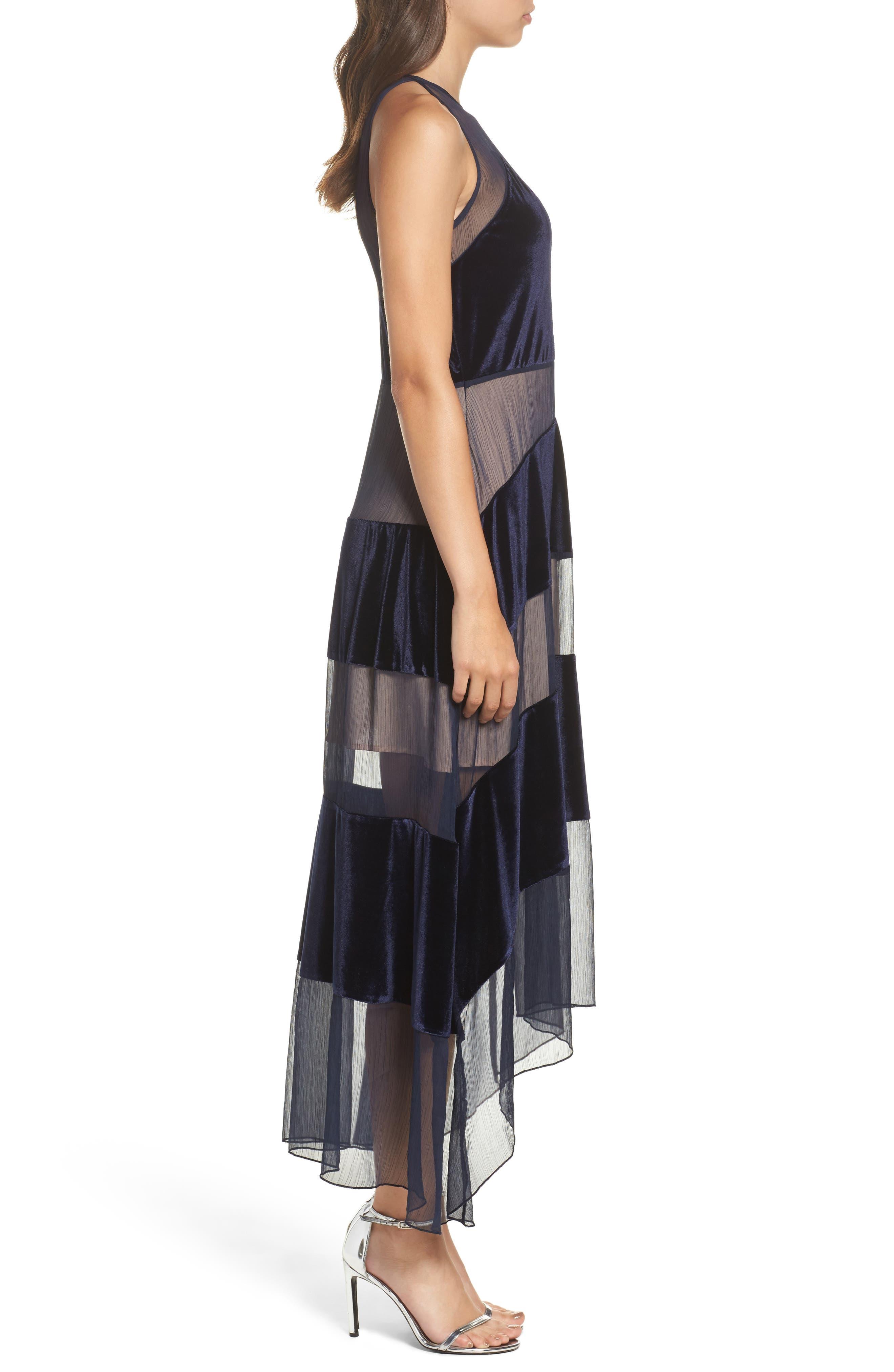 Alternate Image 3  - Foxiedox Velvet Stripe Midi Dress