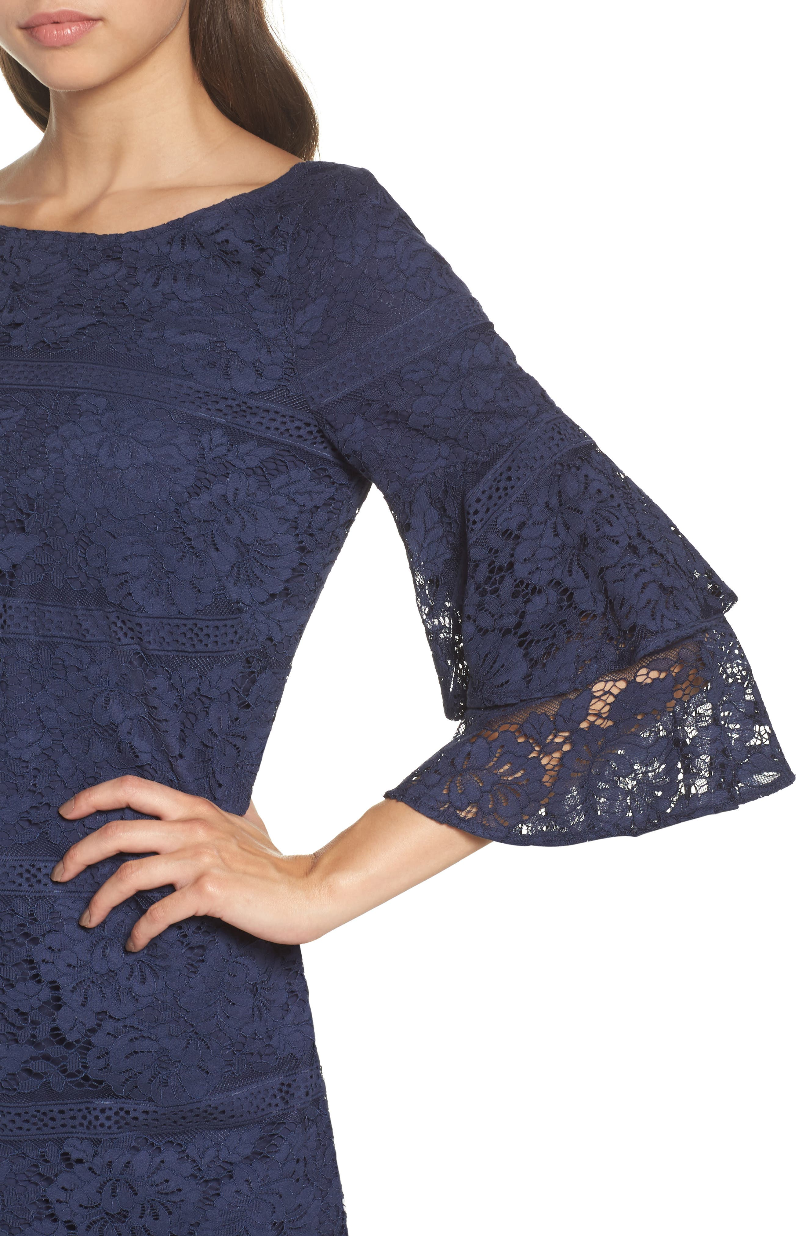 Tiered Sleeve Lace Shift Dress,                             Alternate thumbnail 4, color,                             Navy