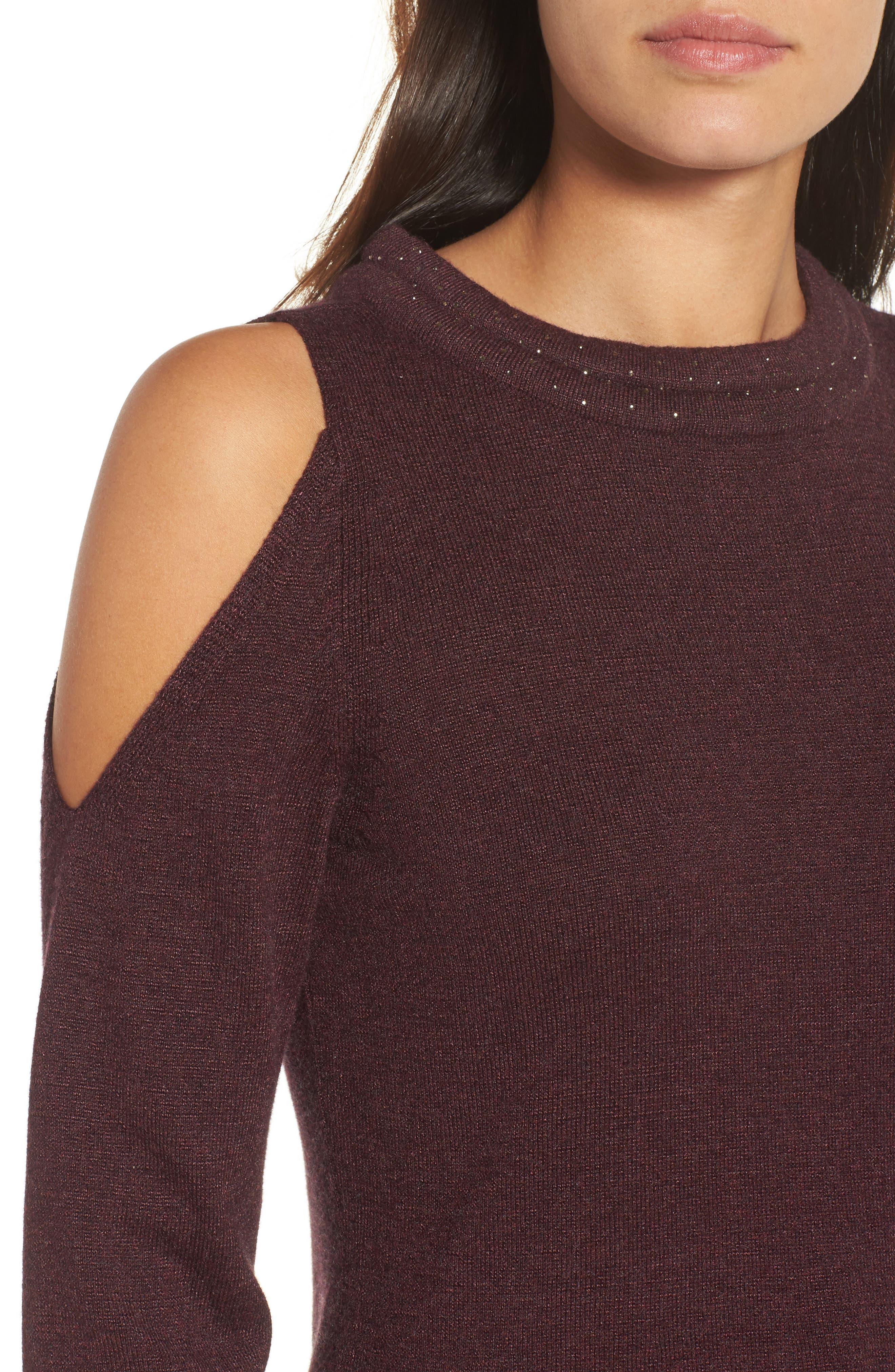 Alternate Image 4  - NIC+ZOE Jewel Neck Cold Shoulder Top (Regular & Petite)