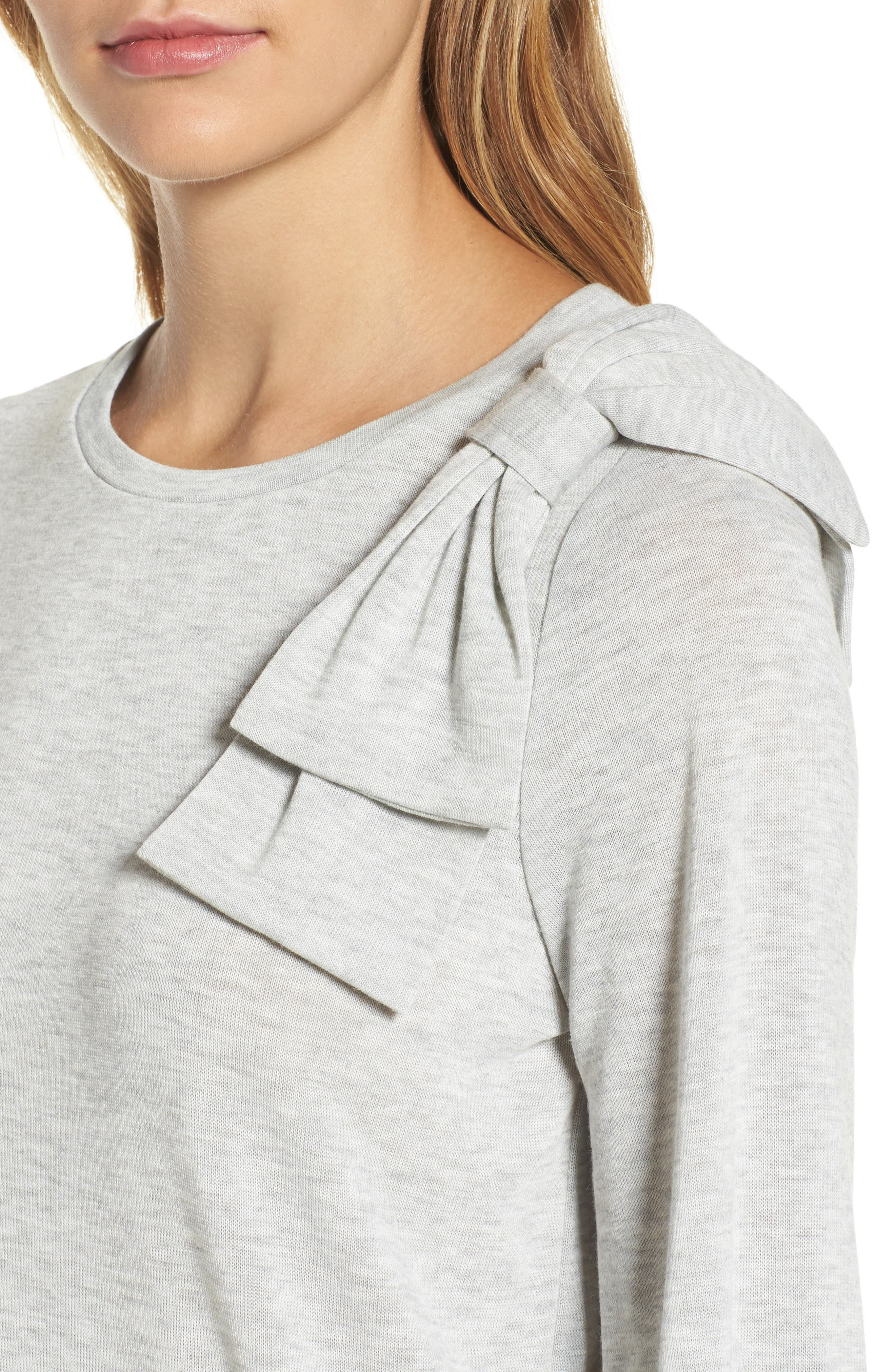 Bow Knit Sweatshirt,                             Alternate thumbnail 4, color,                             Grey Heather