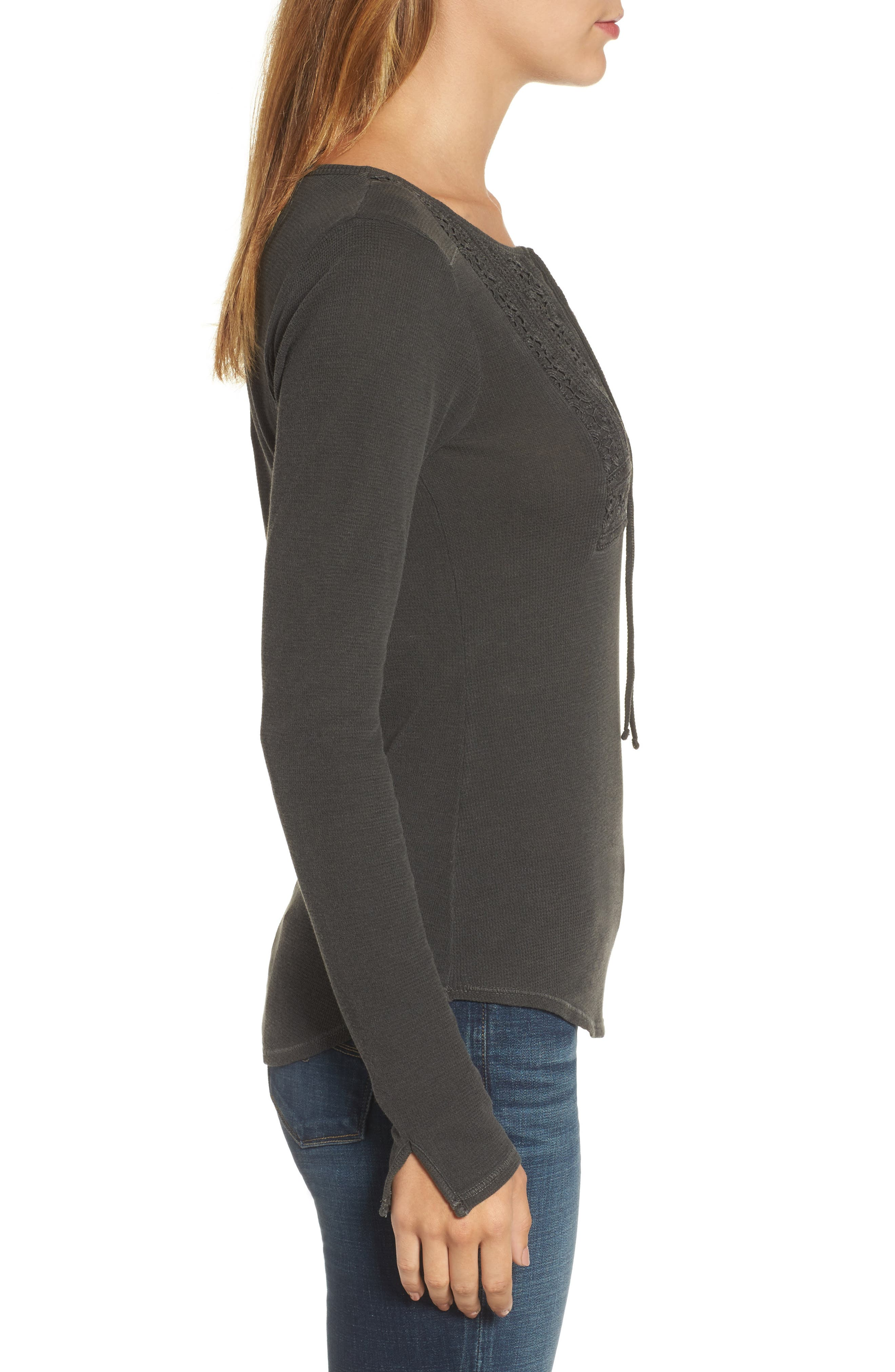Lace-Up Bib Thermal Top,                             Alternate thumbnail 3, color,                             Lucky Black