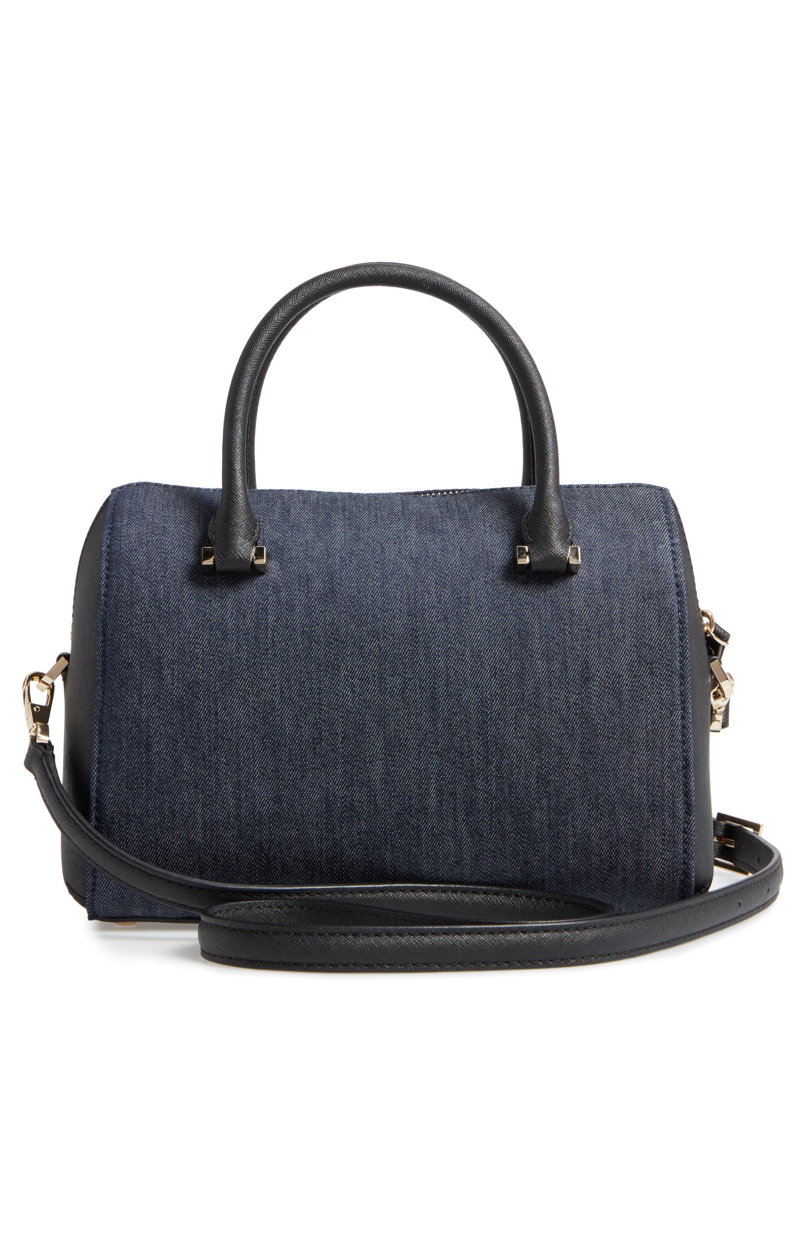 cameron street poppy large lane embroidered denim satchel,                             Alternate thumbnail 2, color,                             Port Blue
