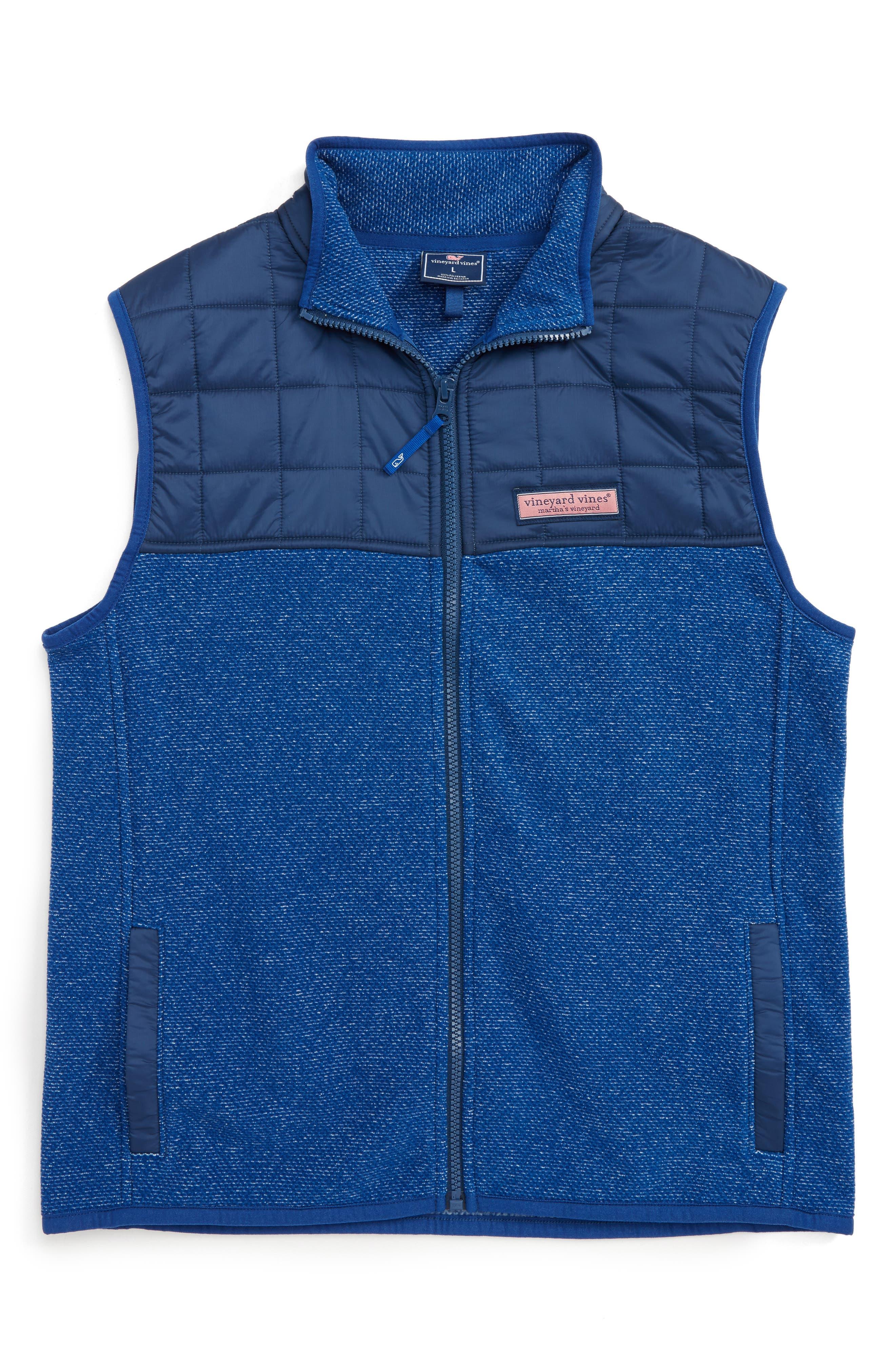 Jacquard Fleece Vest,                         Main,                         color, Blue Bay