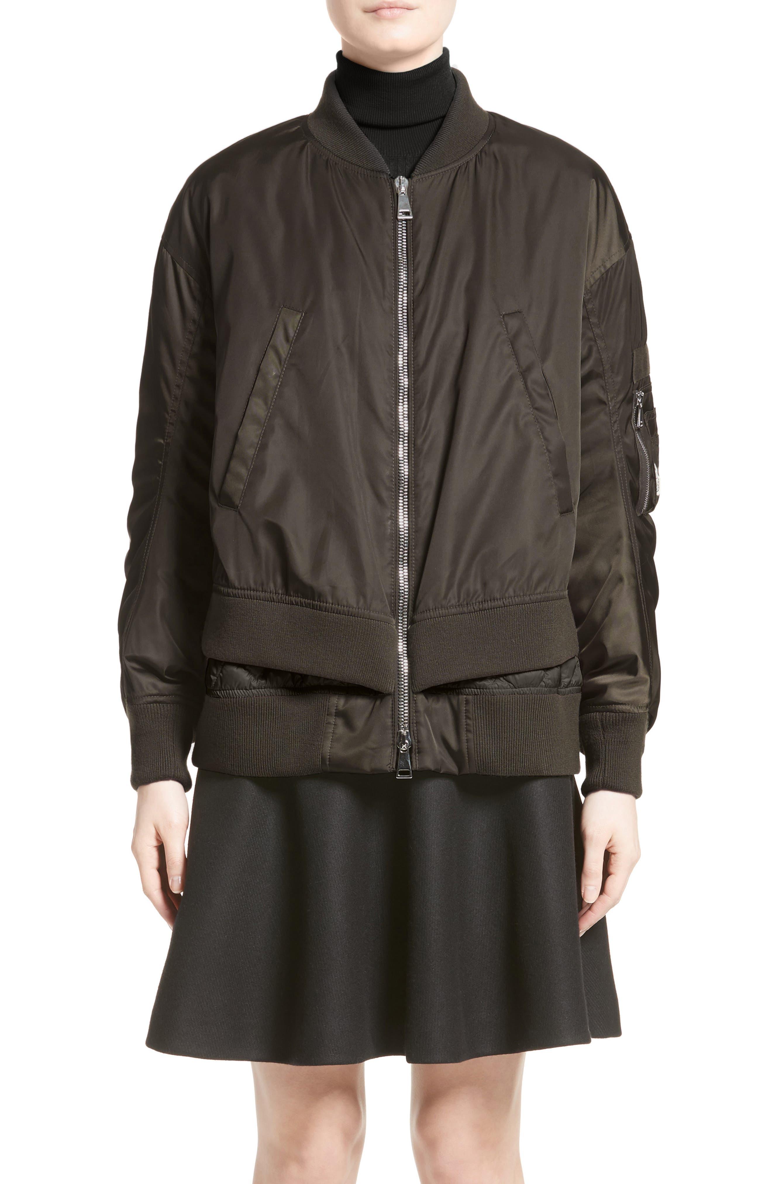 Aralia Layered Bomber Jacket,                         Main,                         color, Olive/ Blush Lining