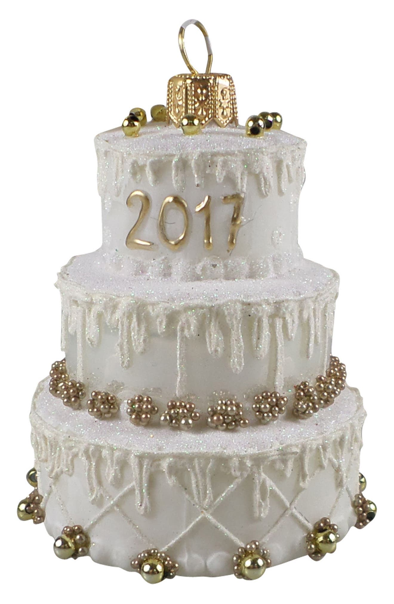 Handblown Glass Wedding Cake Ornament,                         Main,                         color, White/ Gold