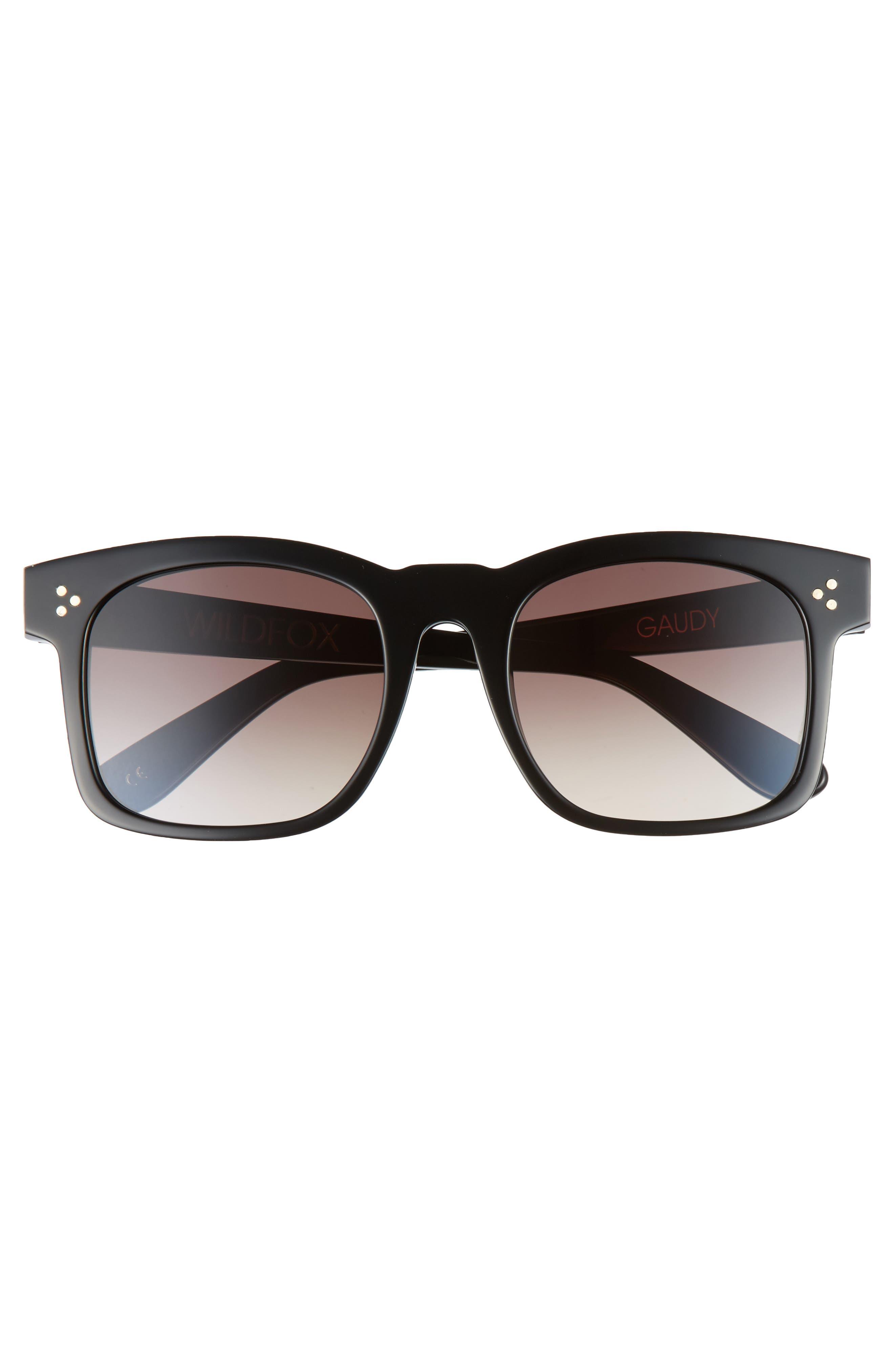 Gaudy Zero 51mm Flat Square Sunglasses,                             Alternate thumbnail 2, color,                             Black