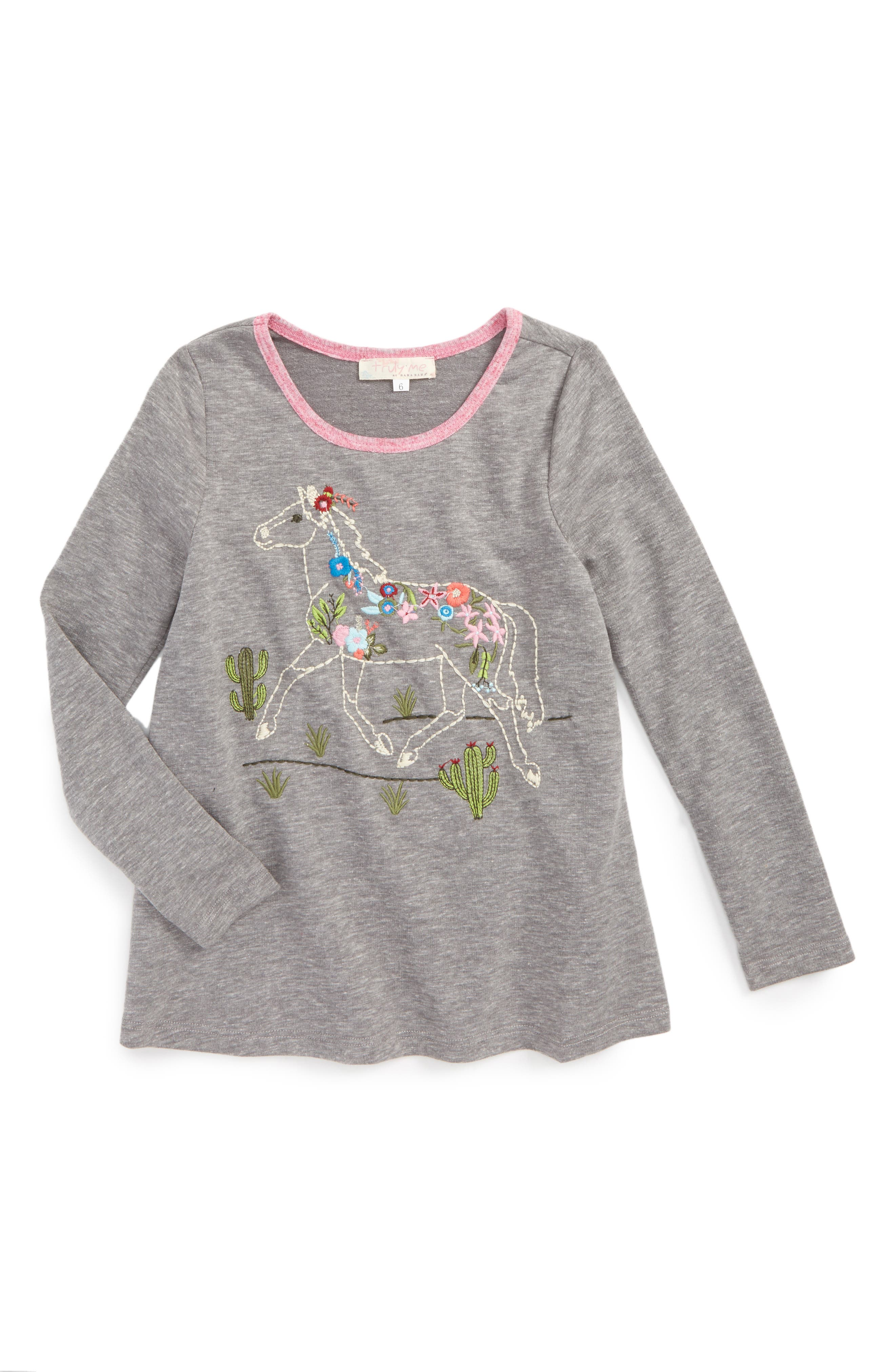 Main Image - Truly Me Embroidered Horse Tee (Toddler Girls & Little Girls)