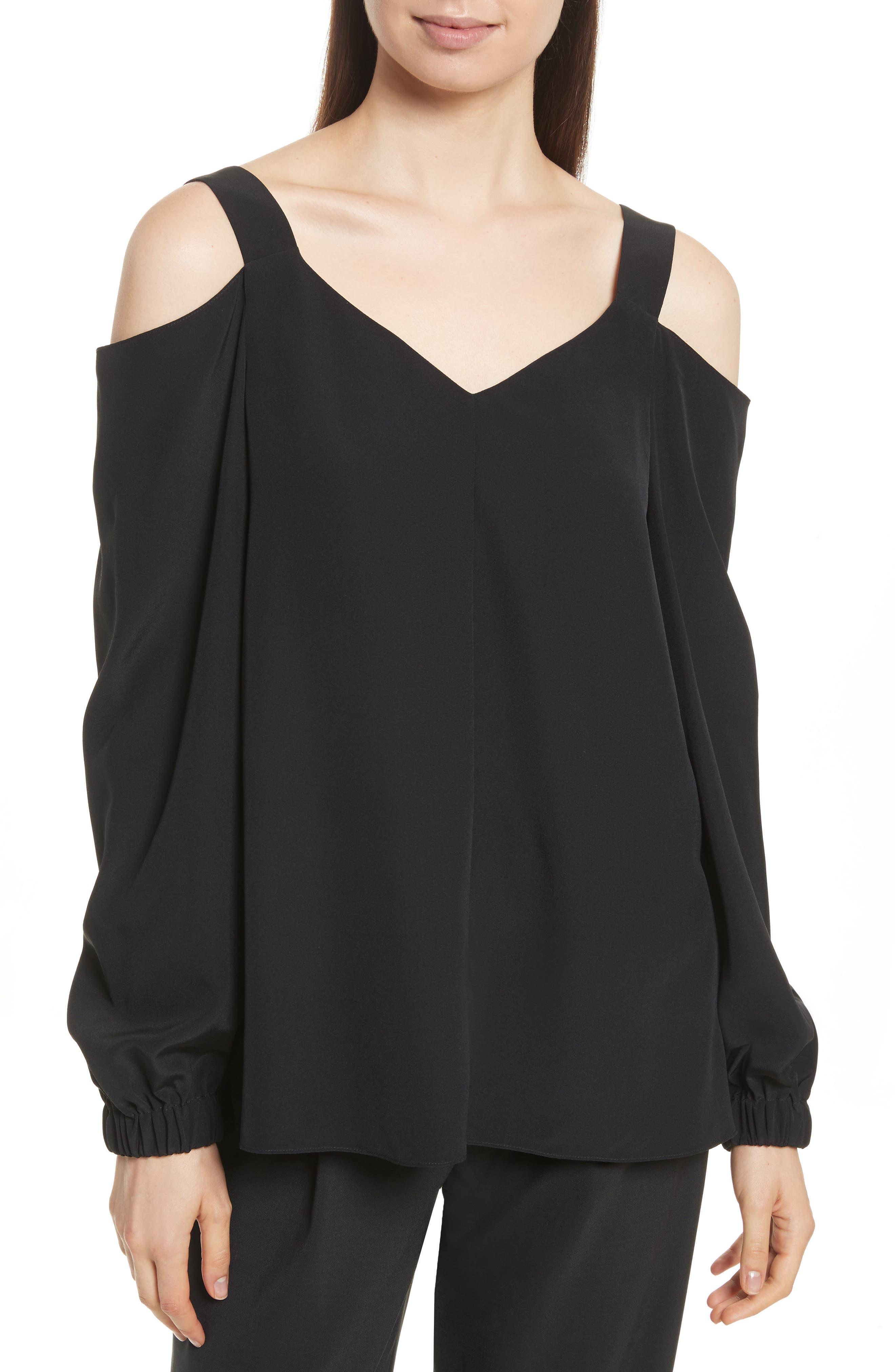 Strappy Crêpe de Chine Cold Shoulder Tunic,                         Main,                         color, Black