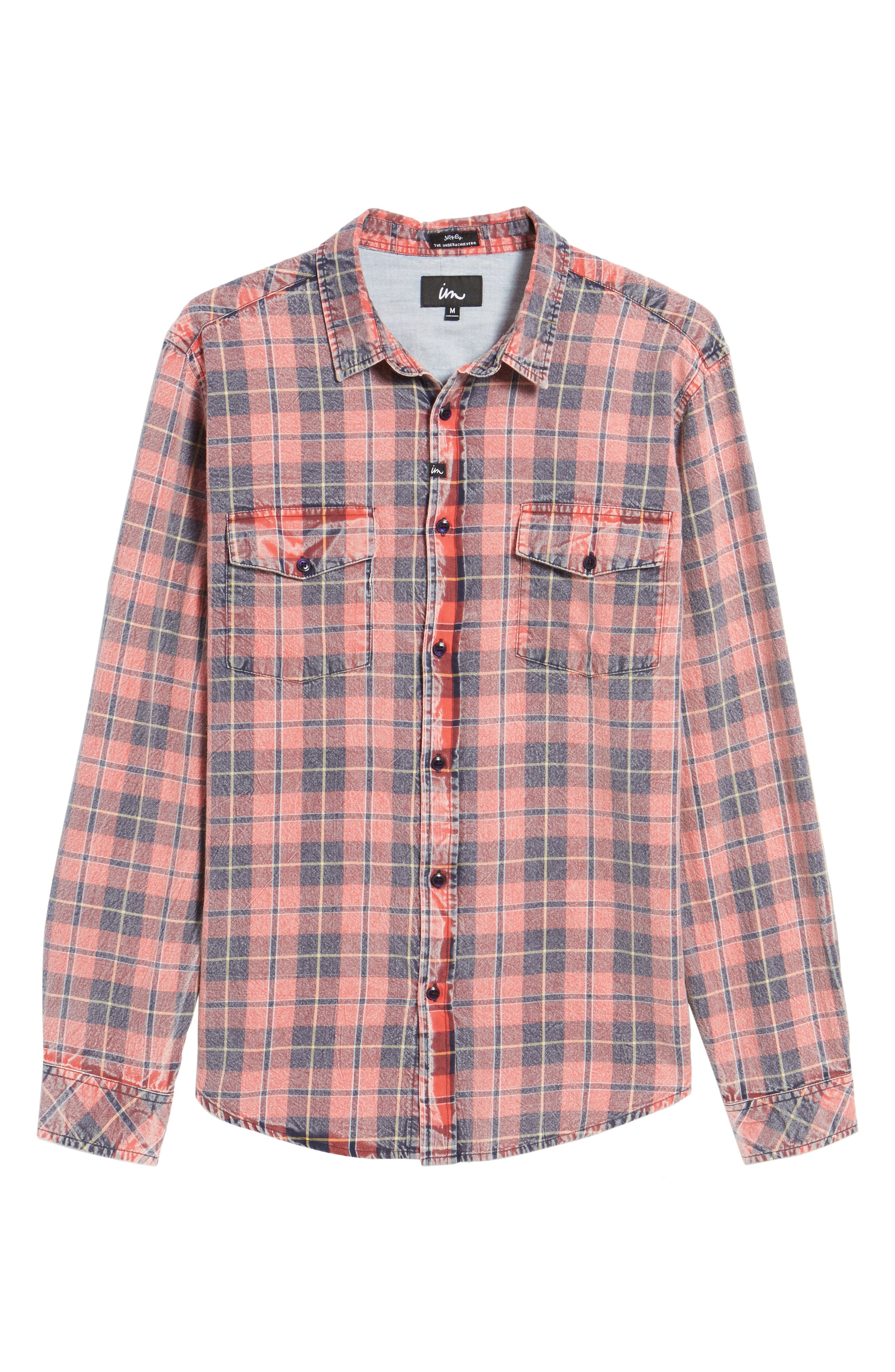 Greenwich Flannel Shirt,                             Alternate thumbnail 6, color,                             Faded Red