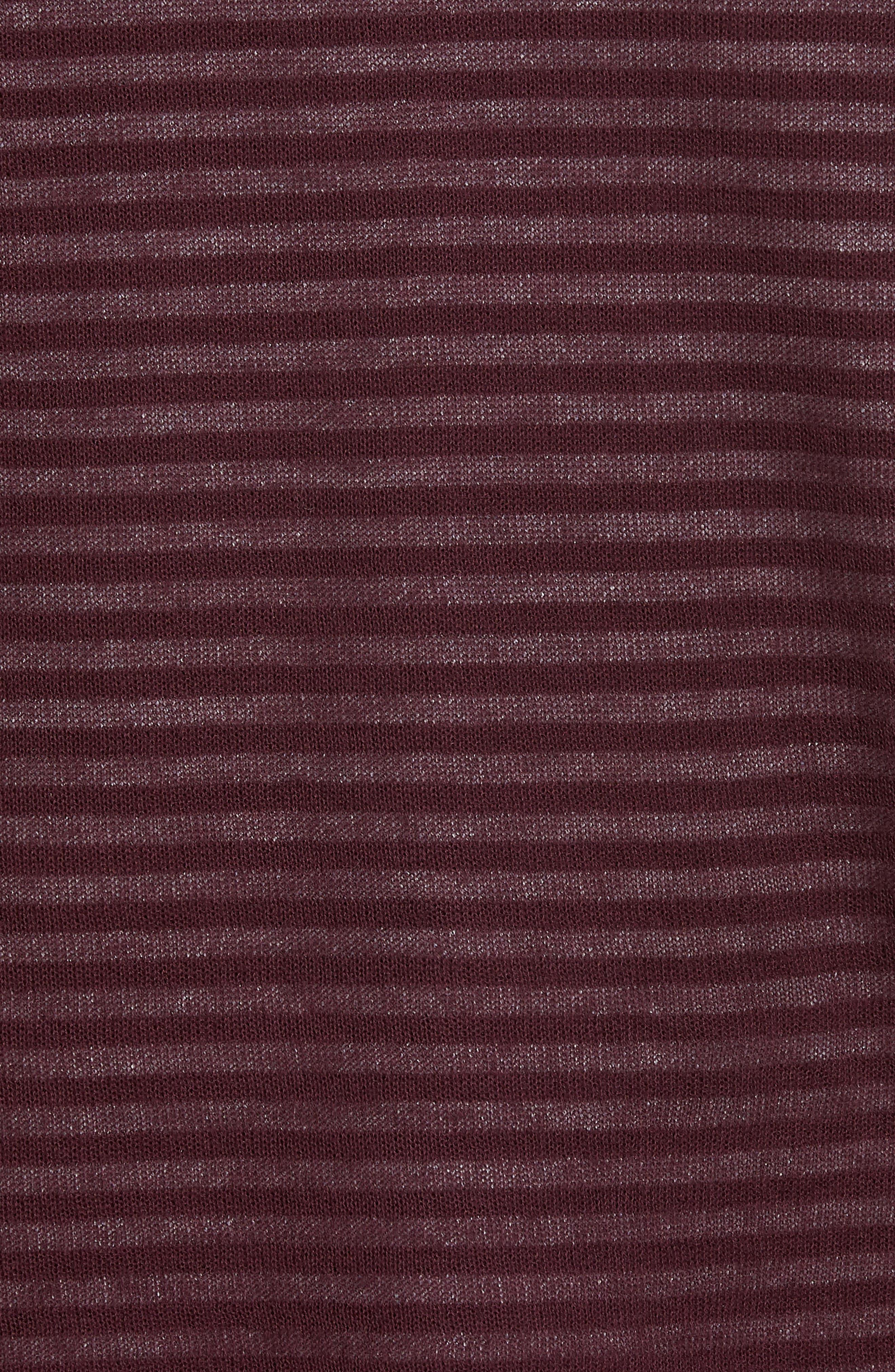 Stripe V-Neck Double Layer Sweater,                             Alternate thumbnail 5, color,                             Burgundy Stem Stripe