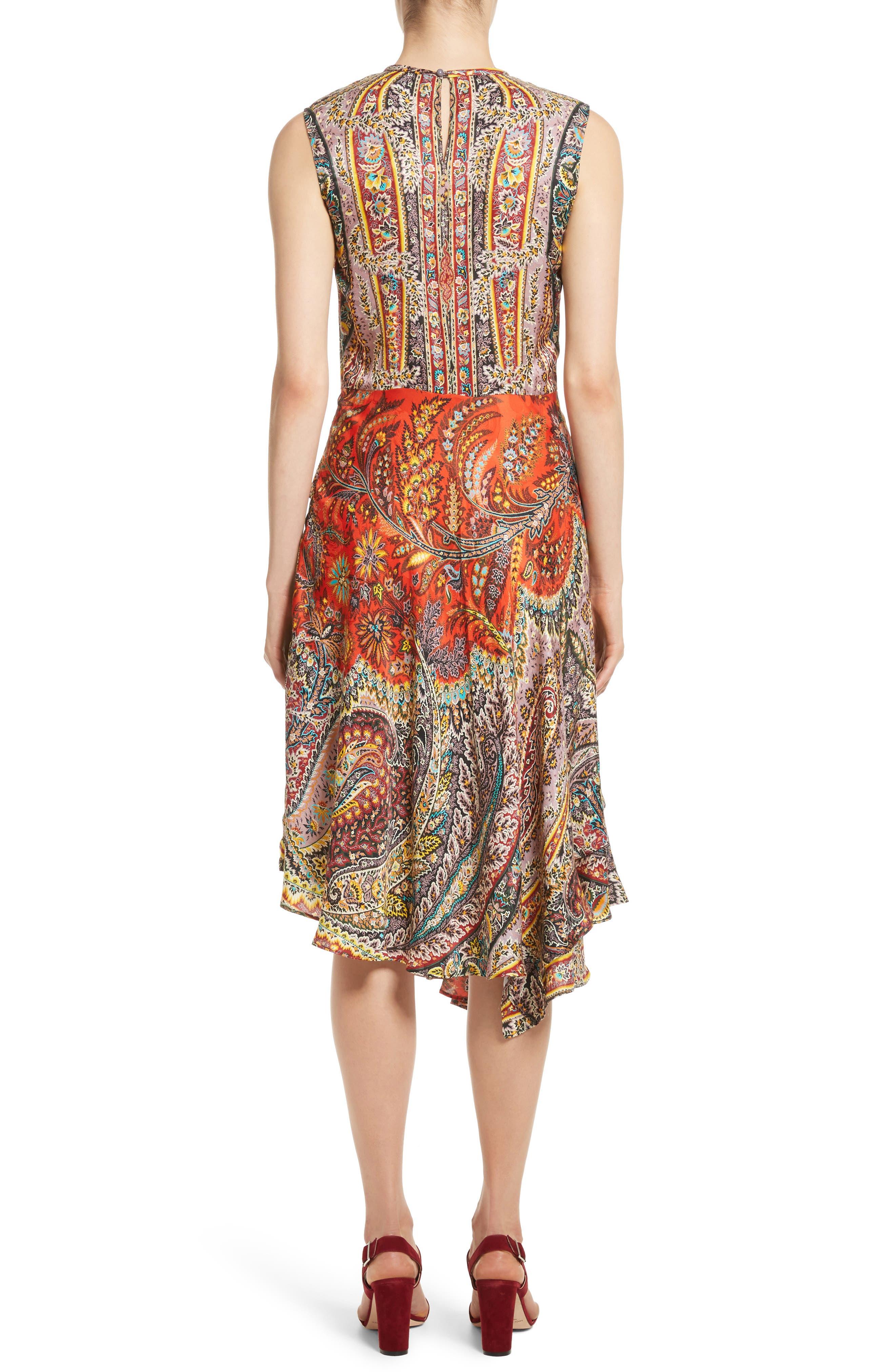 Paisley Print Asymmetrical Dress,                             Alternate thumbnail 2, color,                             Red