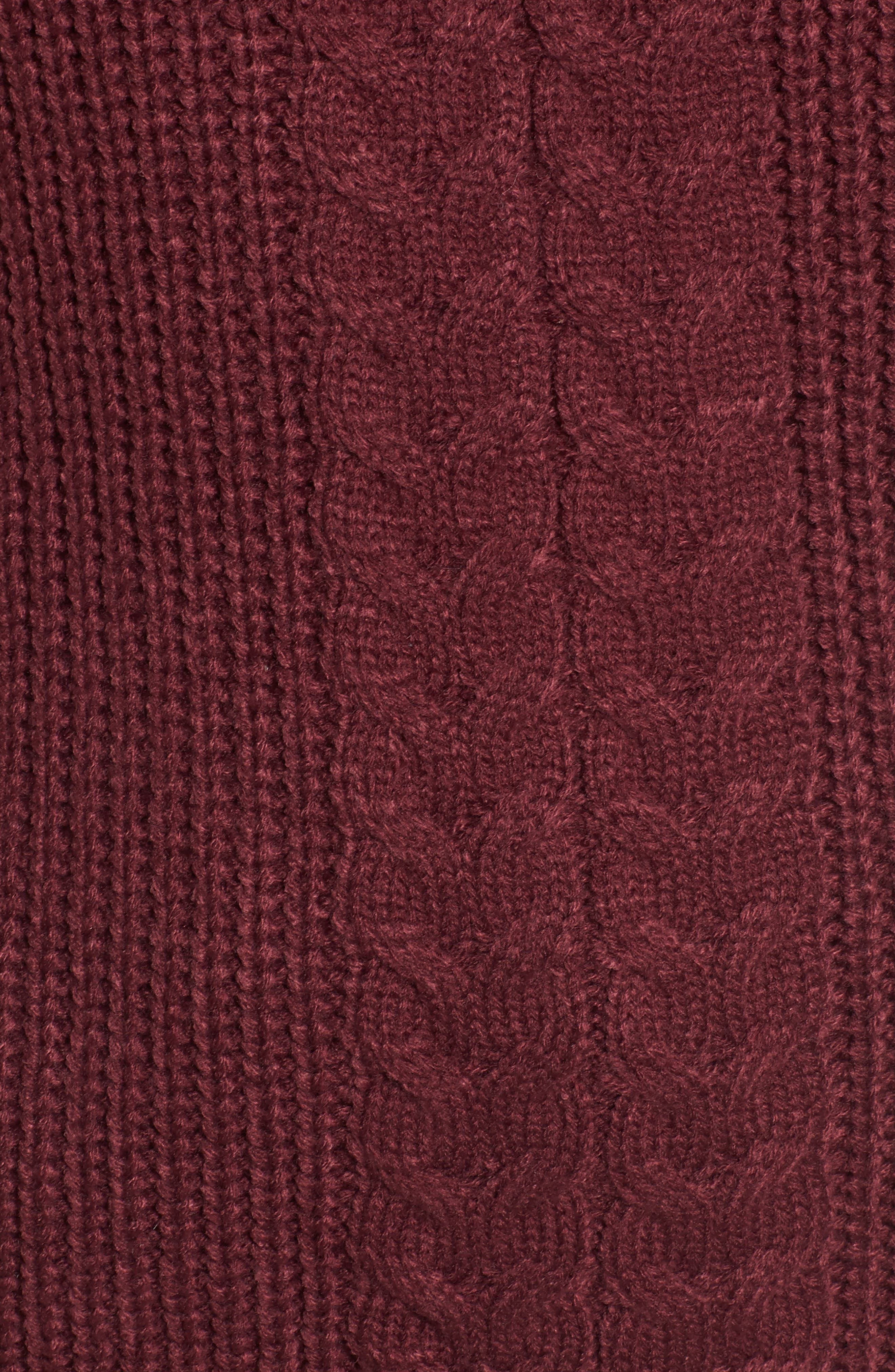 Cross Front Braided Sweater,                             Alternate thumbnail 5, color,                             Zinfandel