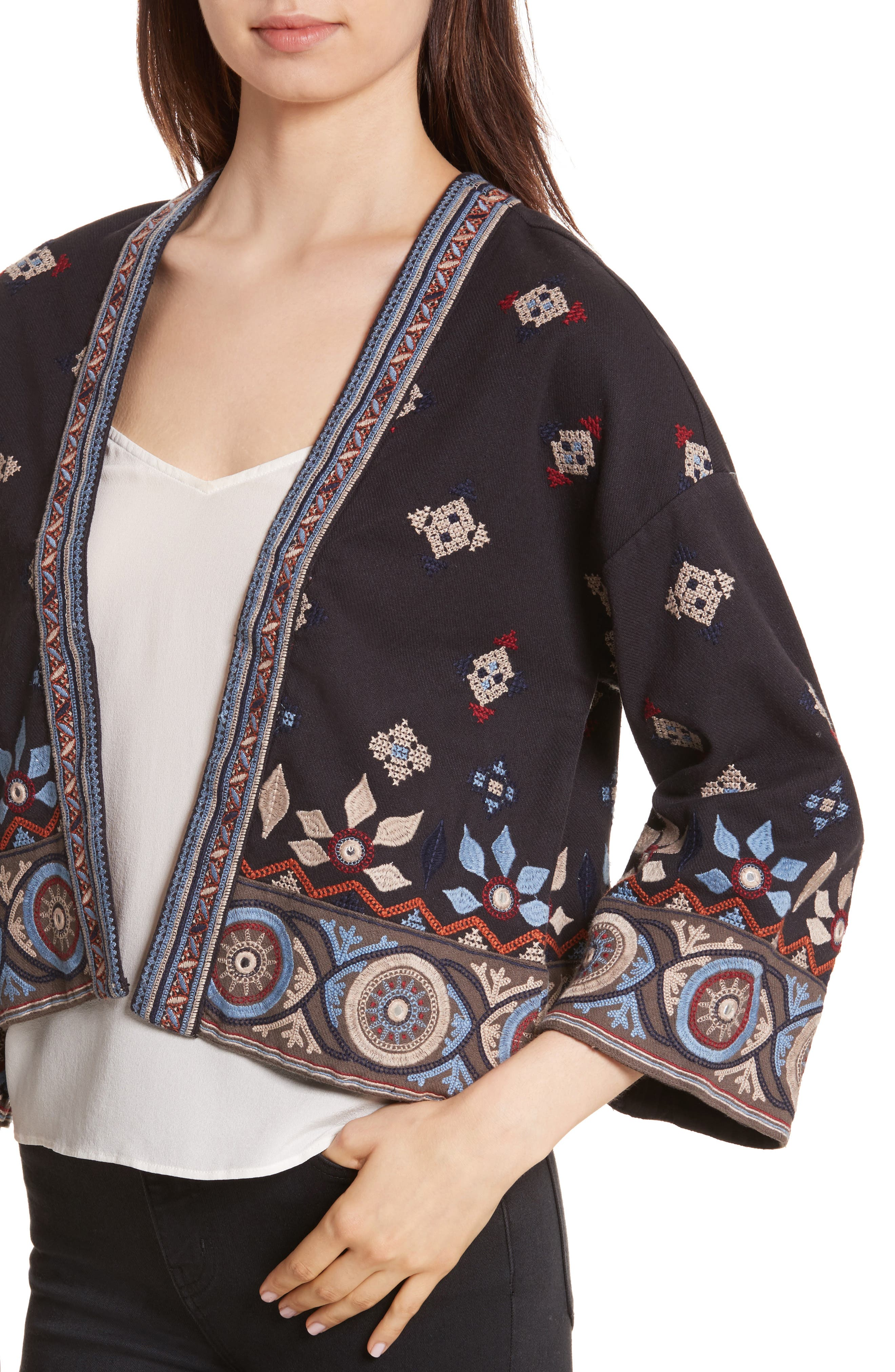Brianny Embroidered Cardigan,                             Alternate thumbnail 4, color,                             Caviar