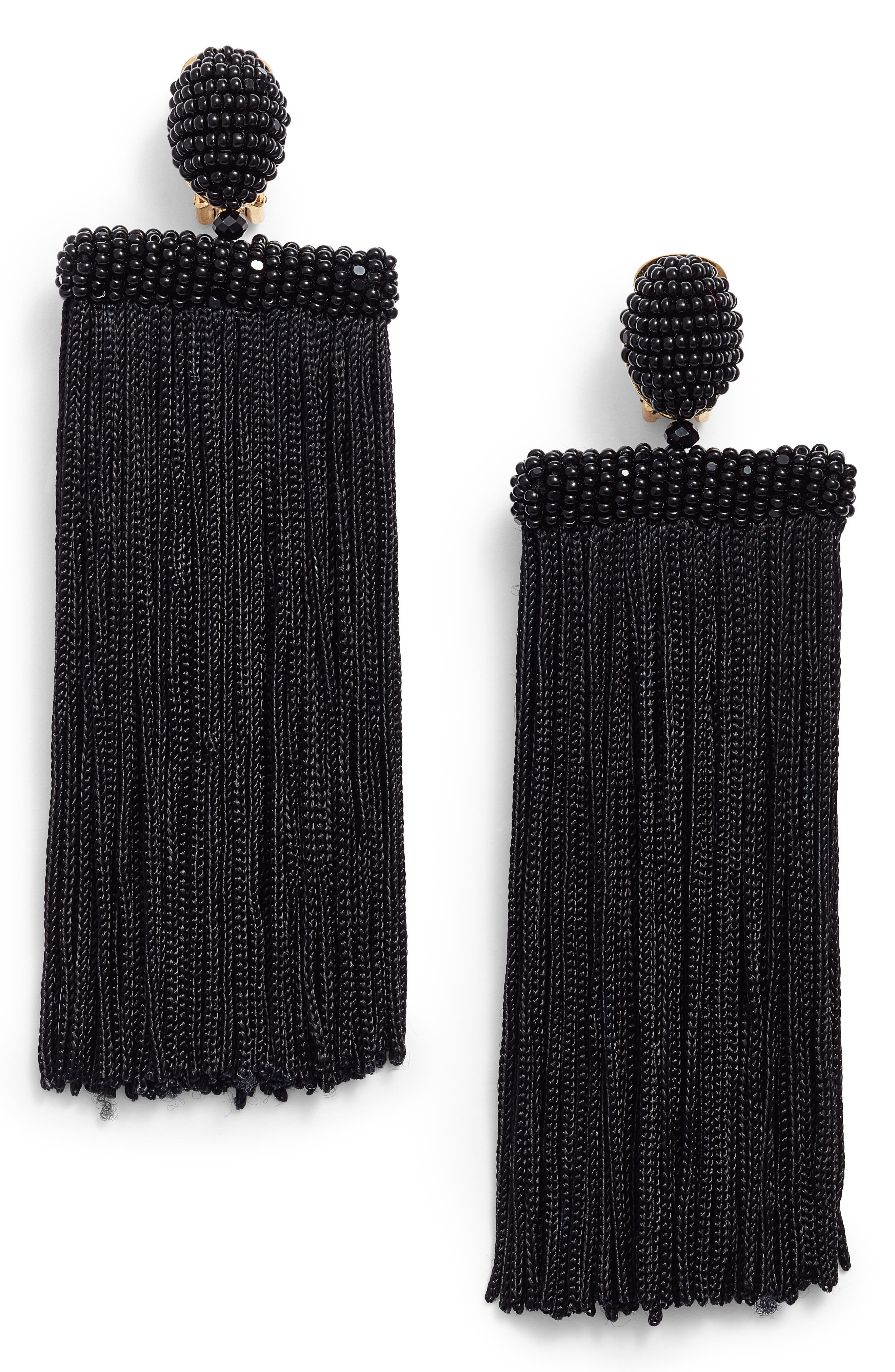 Oscar de la Renta Clip Silk Tassel Earrings