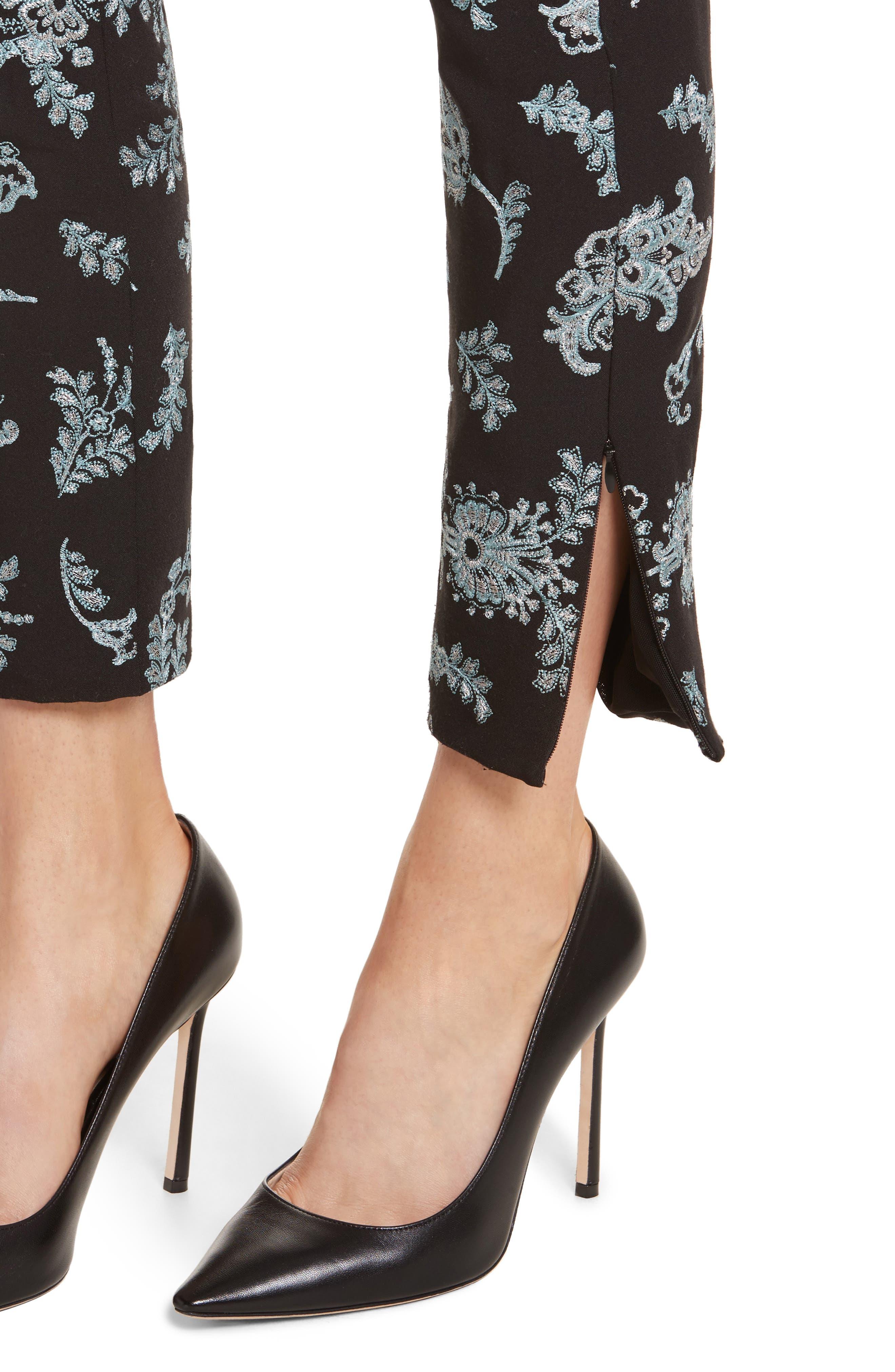 Marin Embroidered Leggings,                             Alternate thumbnail 5, color,                             Black/ Silver/ Sunshower