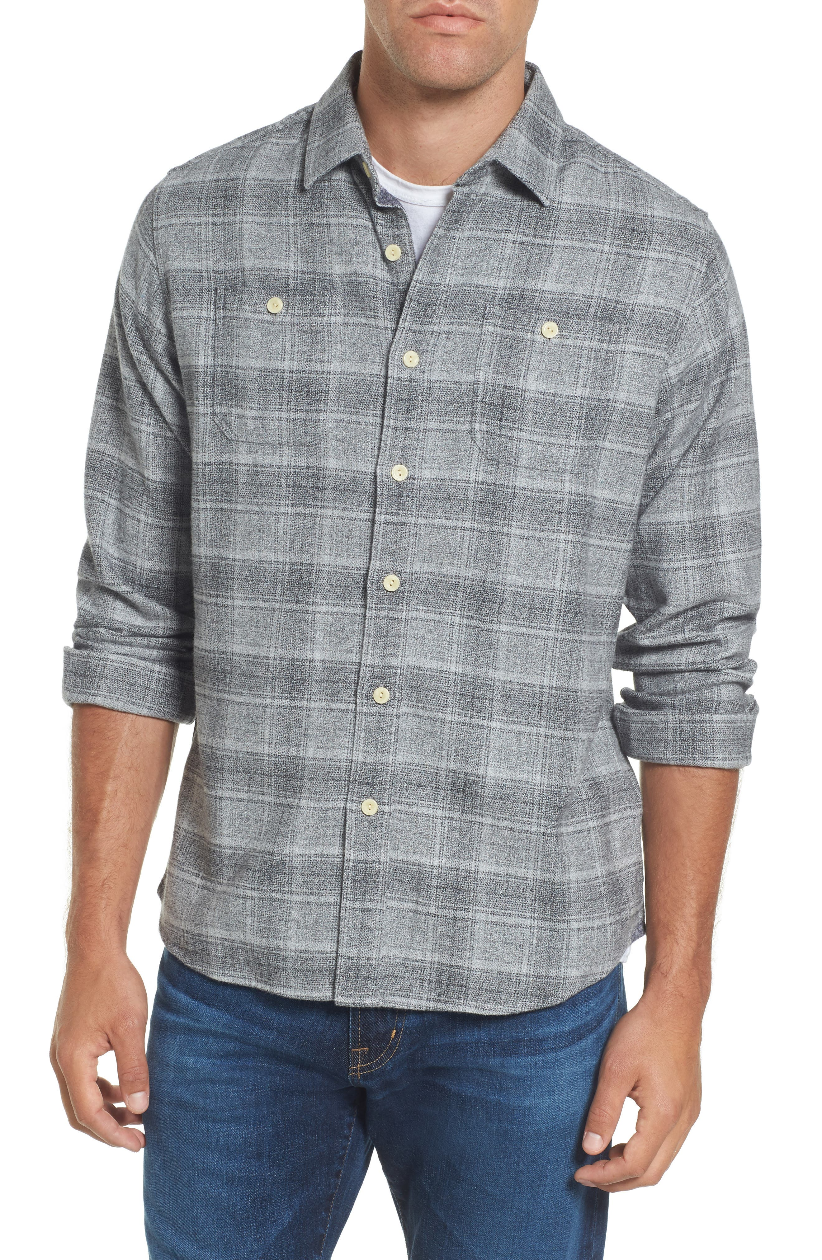 Charles Heritage Modern Fit Flannel Sport Shirt,                         Main,                         color, Gray Charcoal