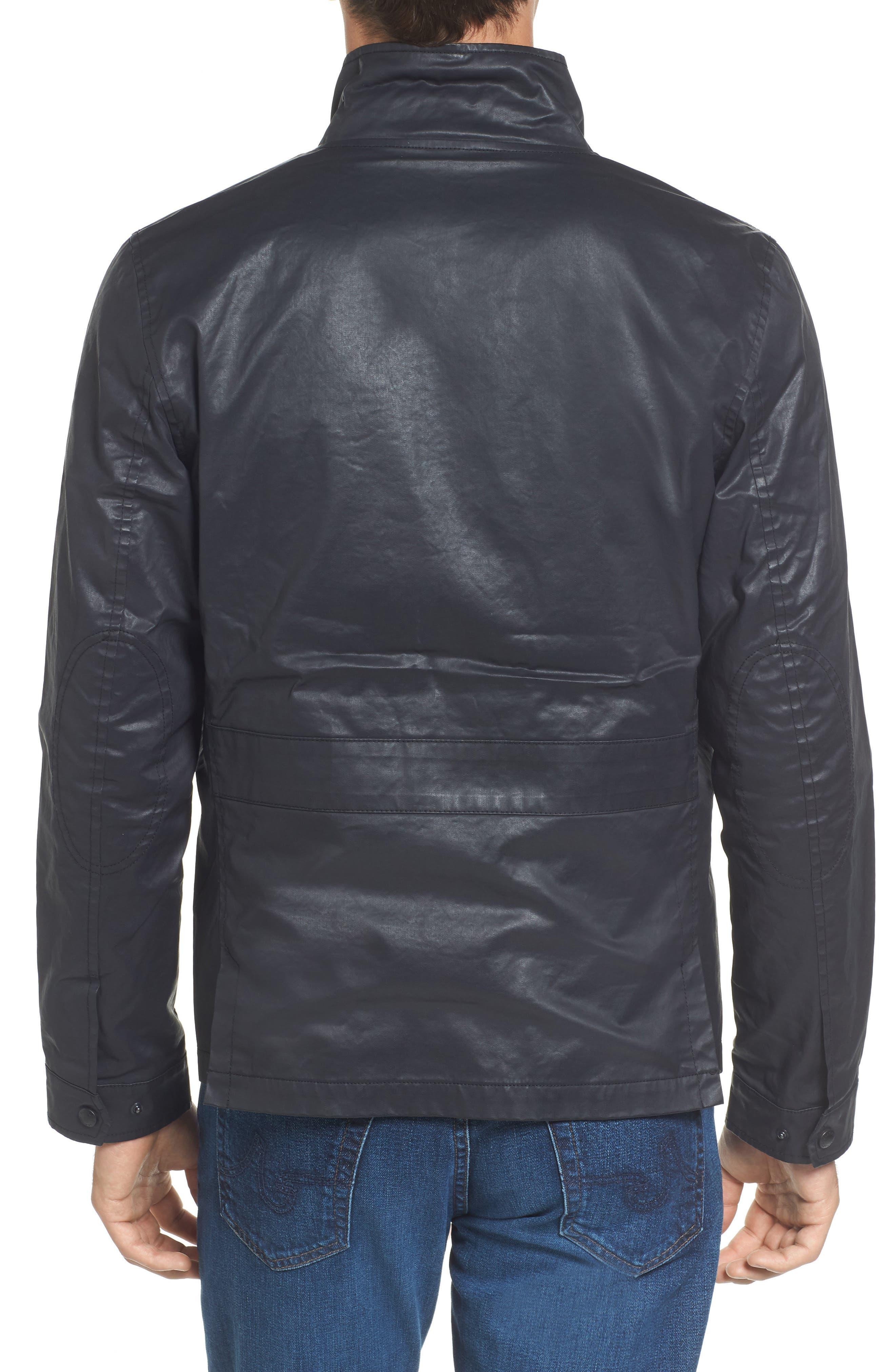 Edgeware Modern Fit Coated Moto Jacket,                             Alternate thumbnail 2, color,                             Black