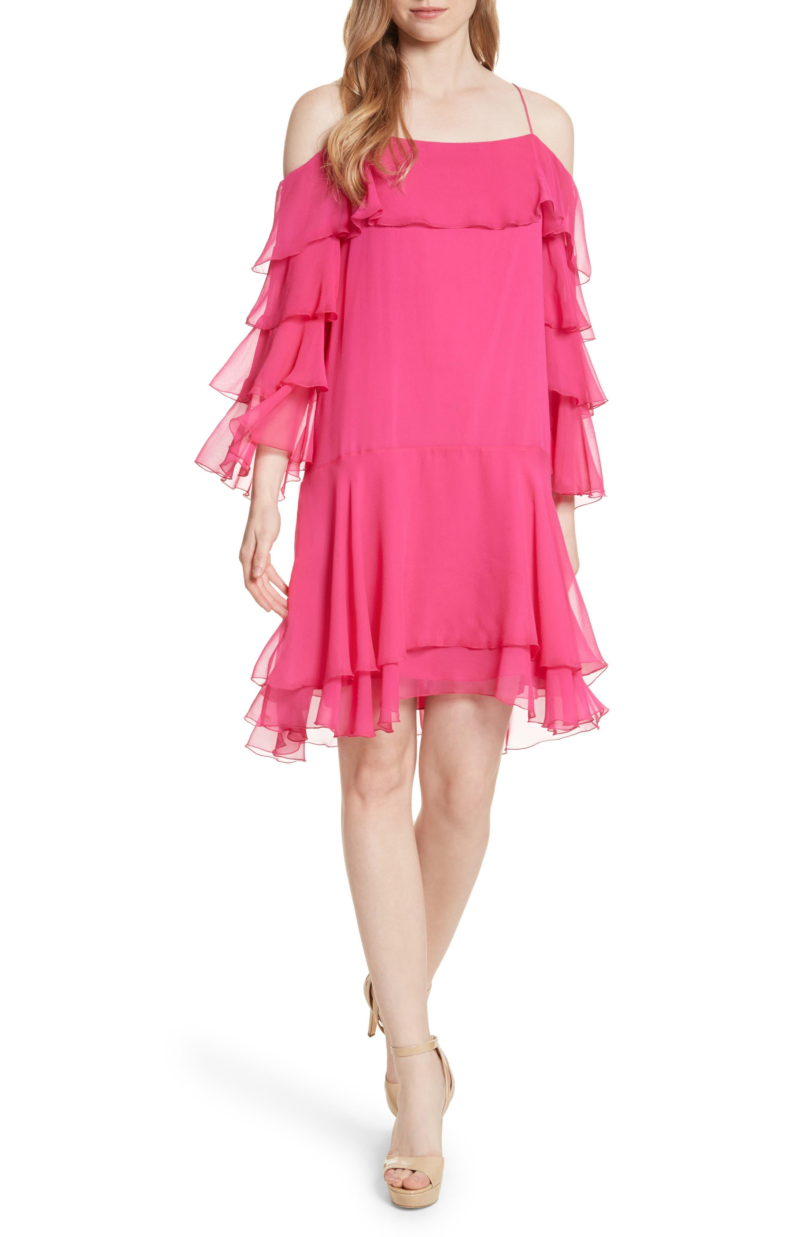 Alice + Olivia Lexis Lyrd Silk Cold Shoulder Ruffle Dress