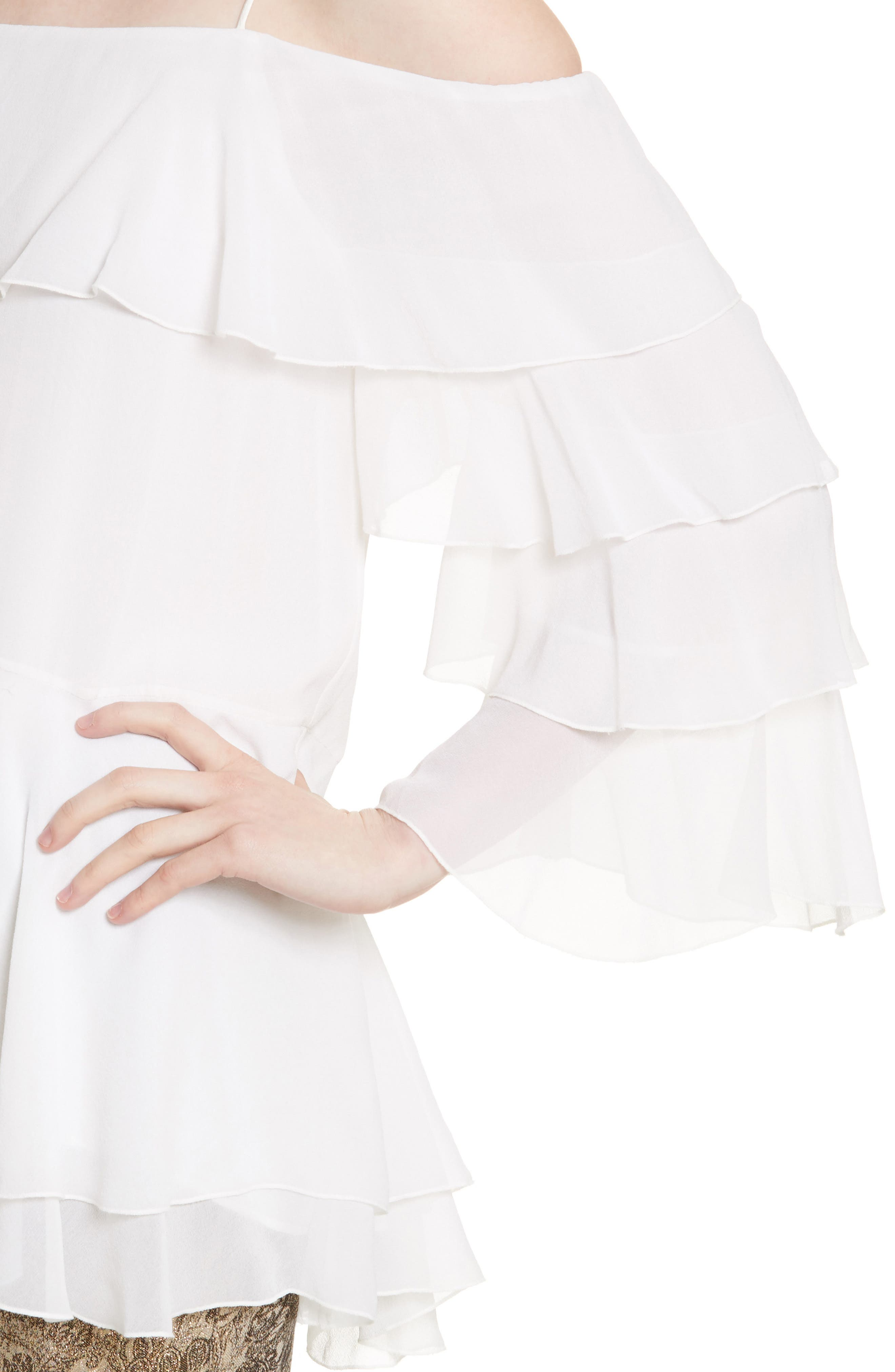 Alternate Image 4  - Alice + Olivia Lexia Lyrd Cold Shoulder Ruffle Silk Top