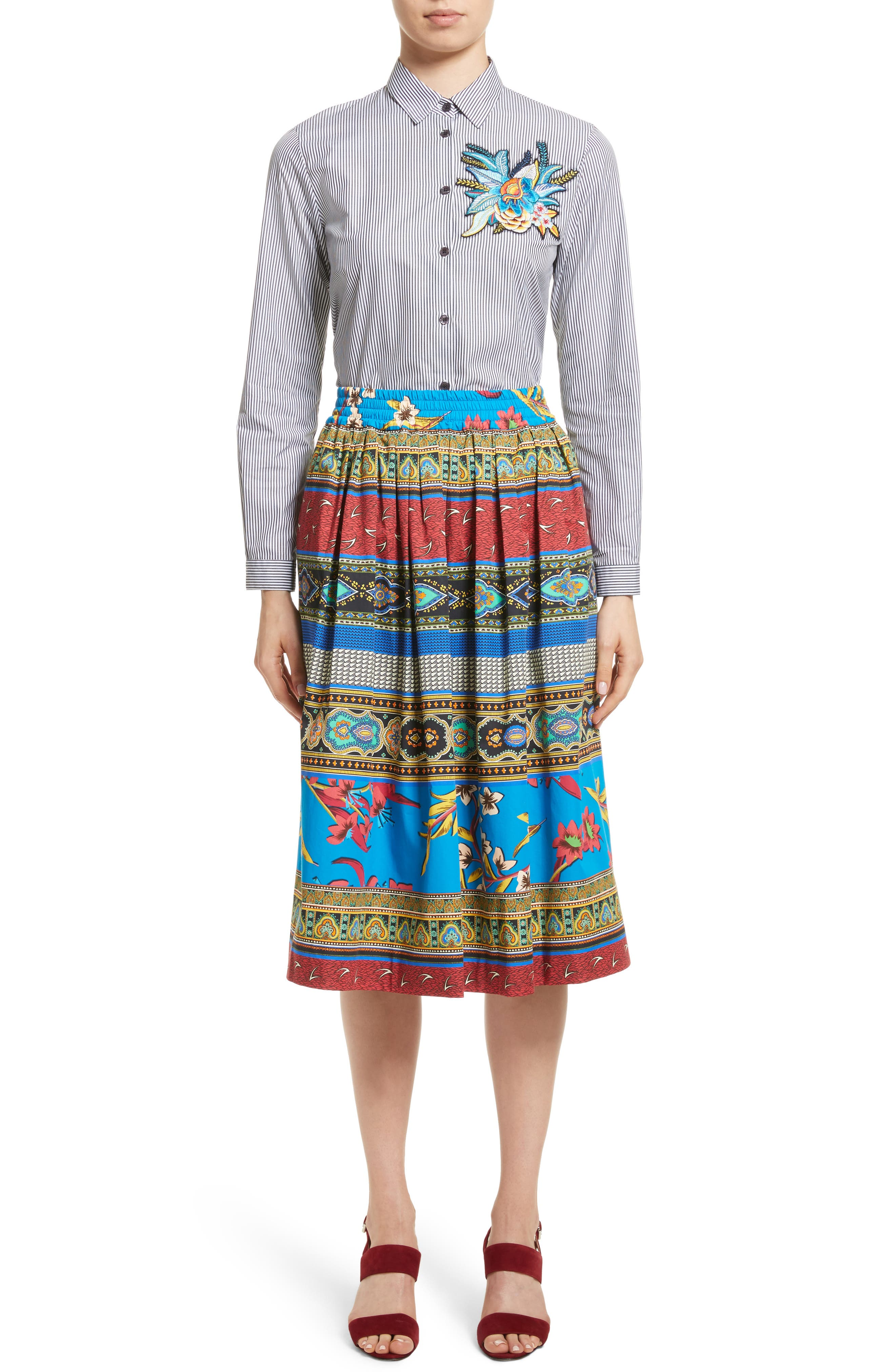 Floral Geo Print Cotton Skirt,                             Alternate thumbnail 7, color,                             Multi
