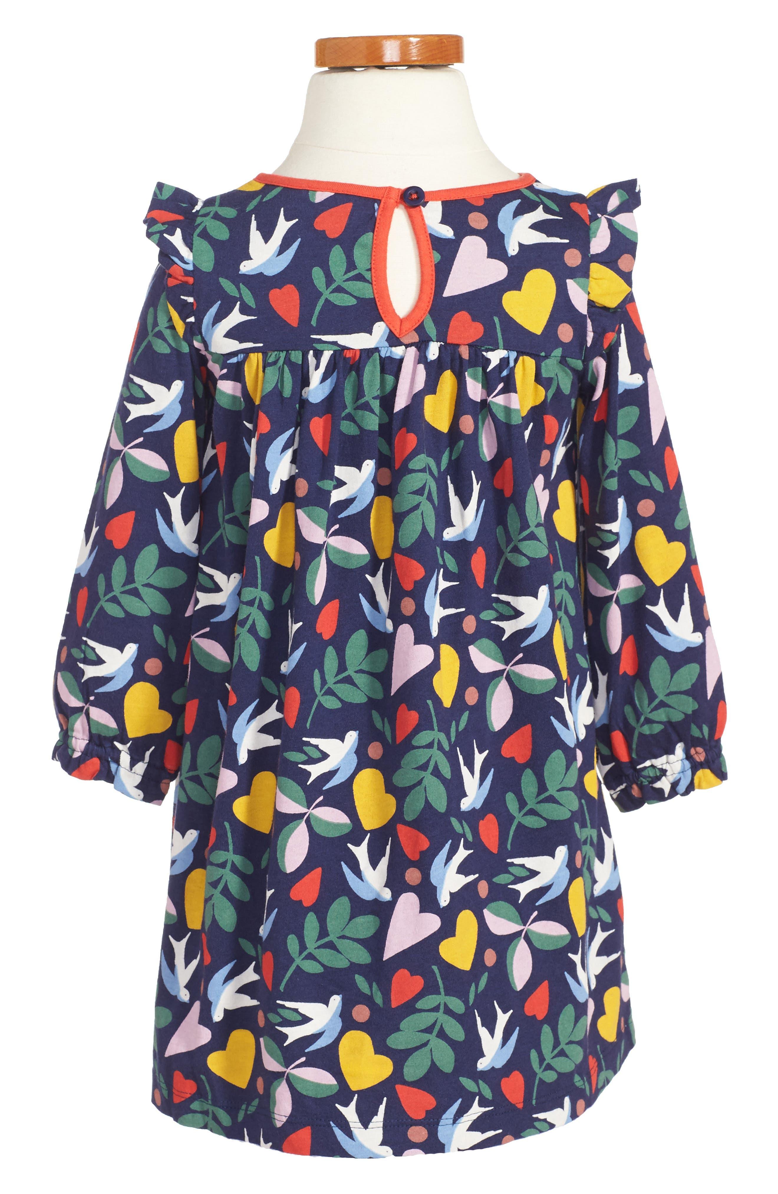 Frill Jersey Dress,                             Alternate thumbnail 2, color,                             Blue Lovebirds