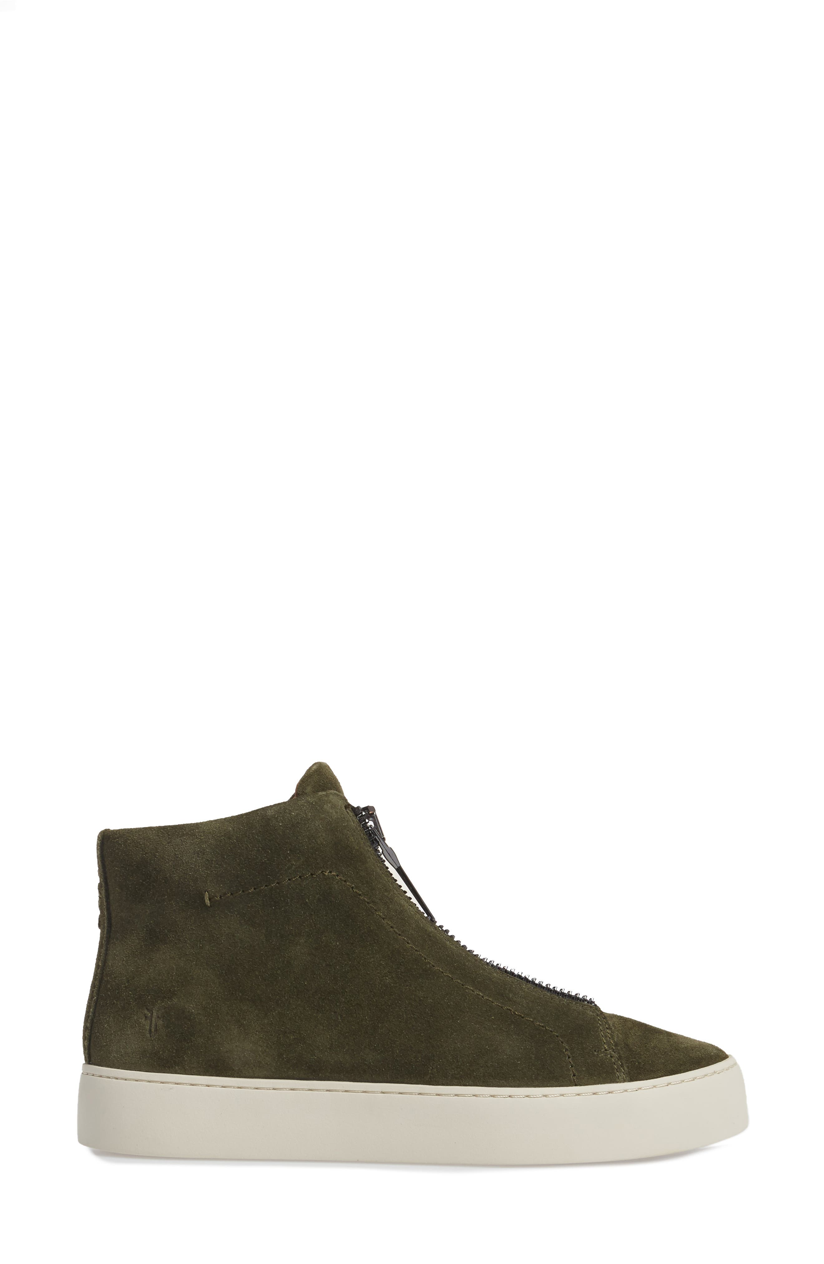 Lena Zip High Top Sneaker,                             Alternate thumbnail 3, color,                             Forest Suede