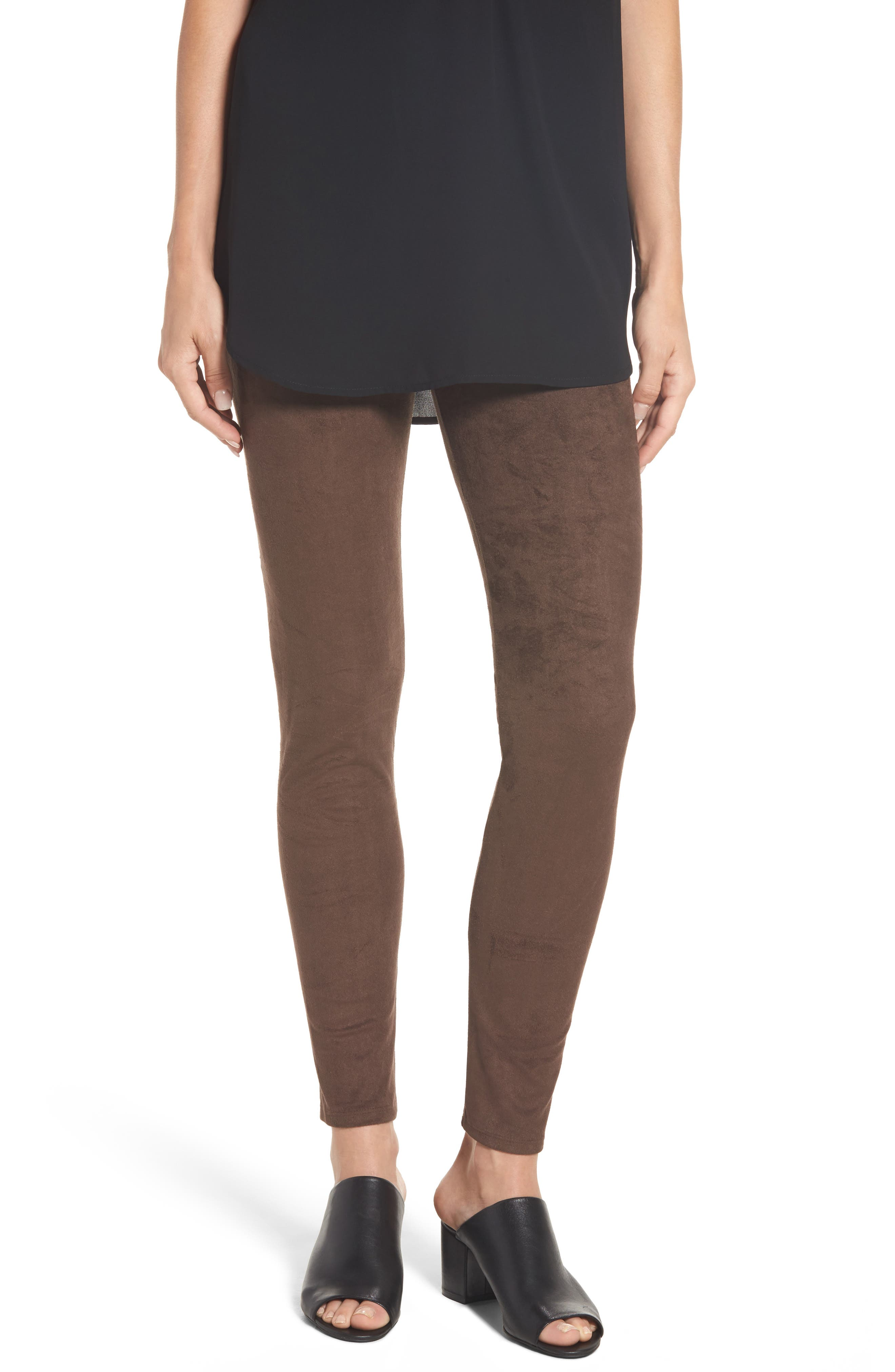 High Waist Faux Suede Leggings,                         Main,                         color, Bourbon