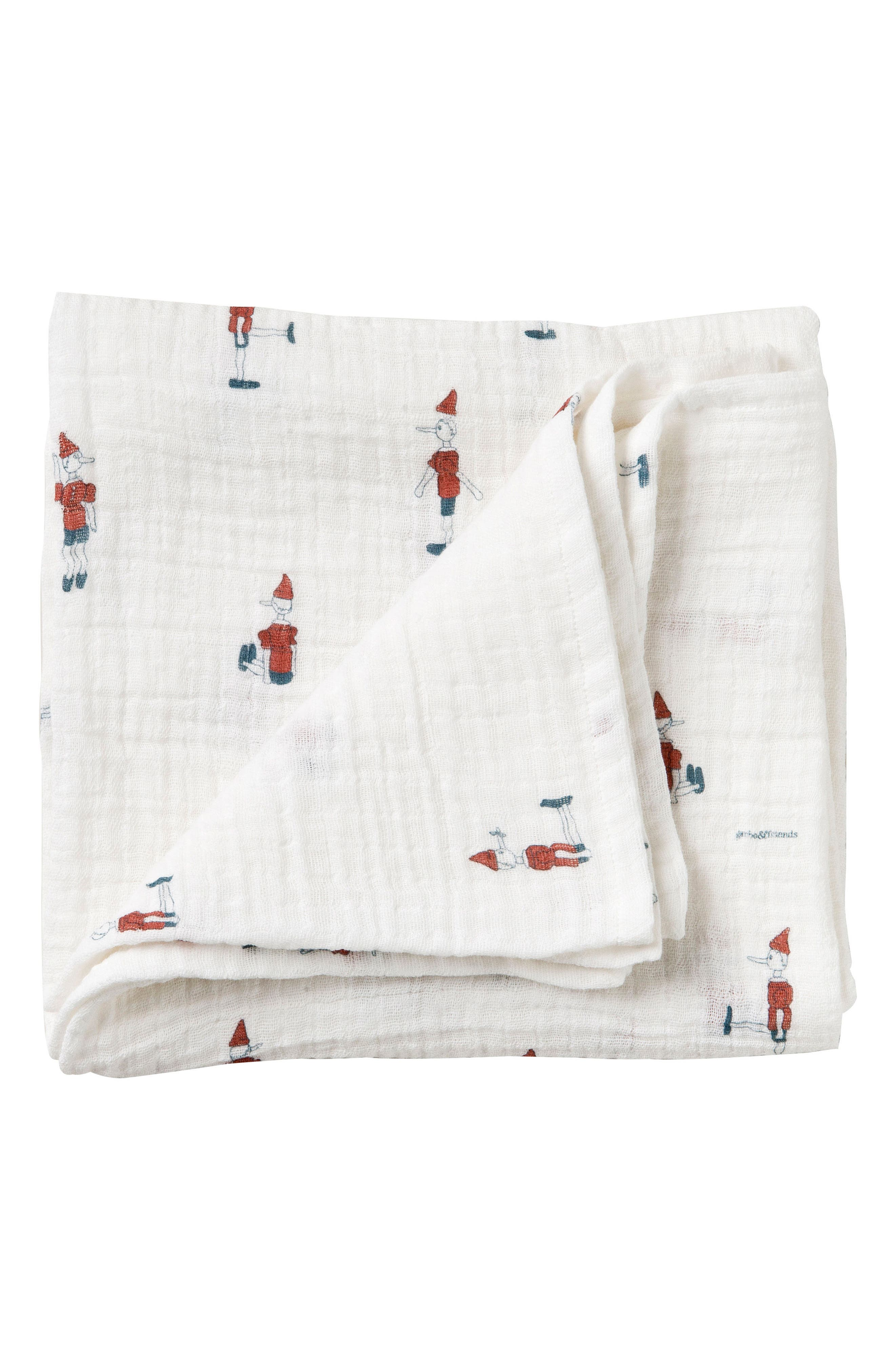 Pinocchio Muslin Swaddling Cloth,                             Main thumbnail 1, color,                             Pinocchio