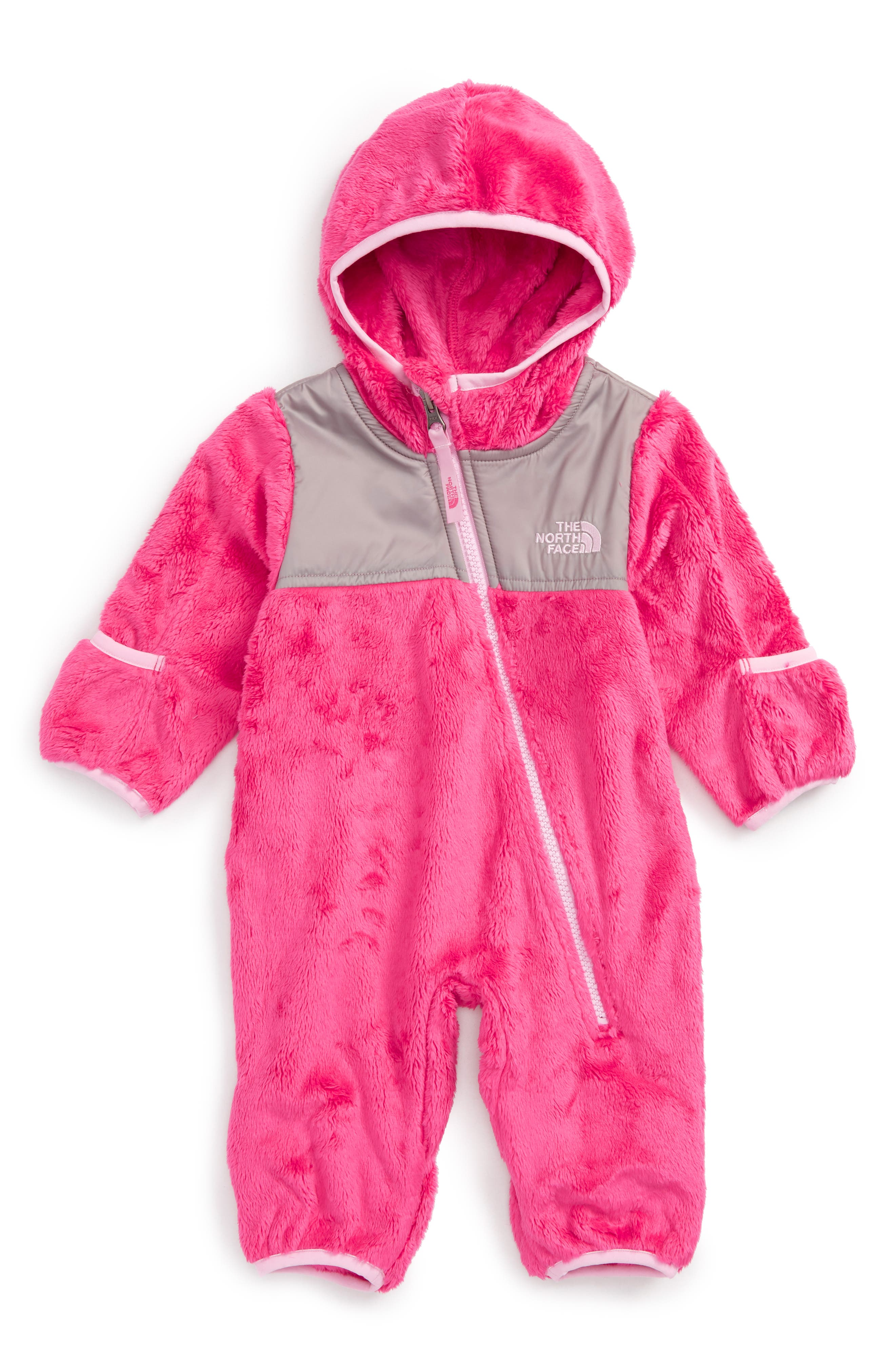 The North Face 'Oso' Hooded Fleece Romper (Baby Girls)