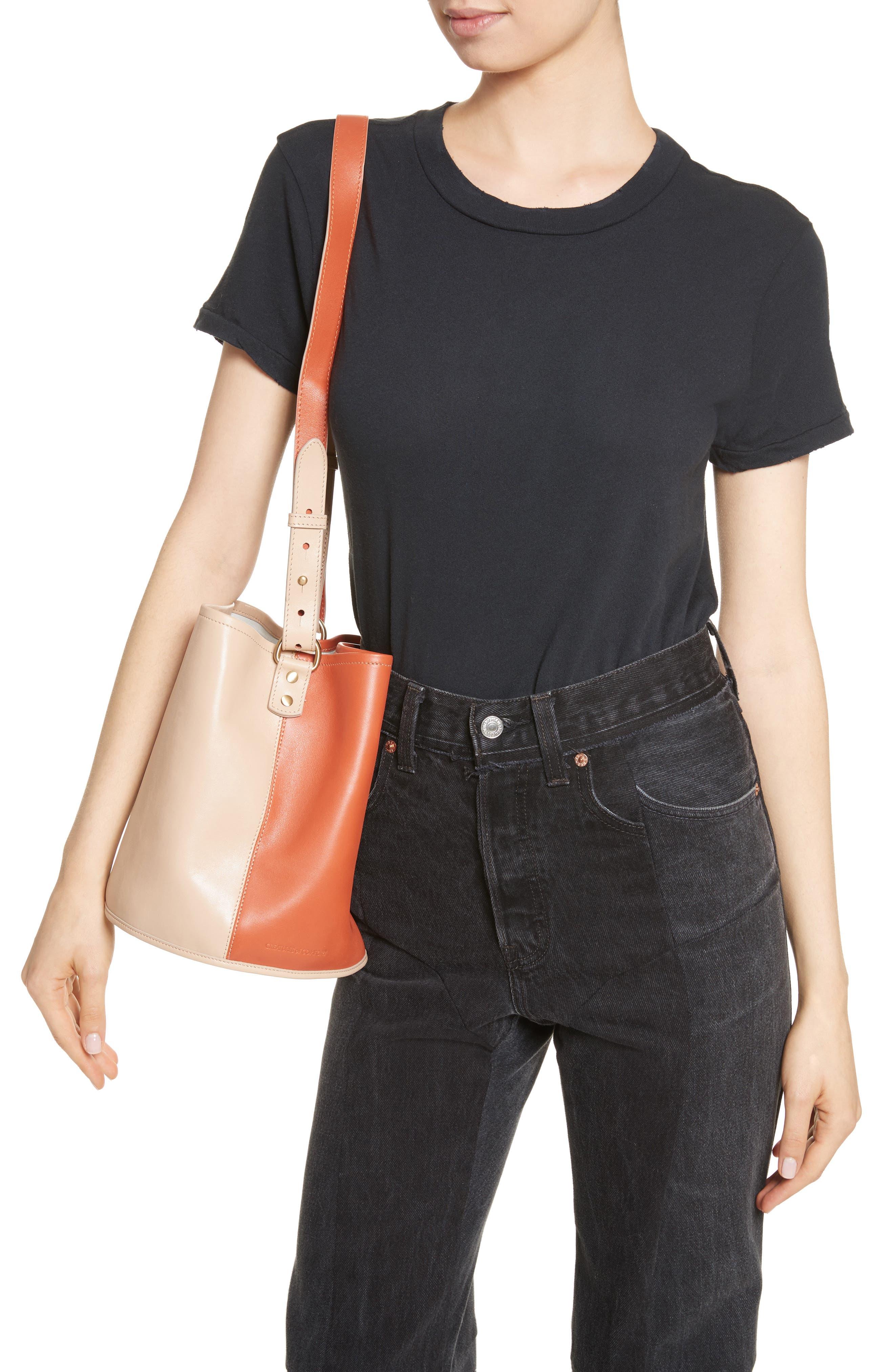 Small Bucket Bicolor Leather Bag,                             Alternate thumbnail 2, color,                             Clove/ Cappuccino