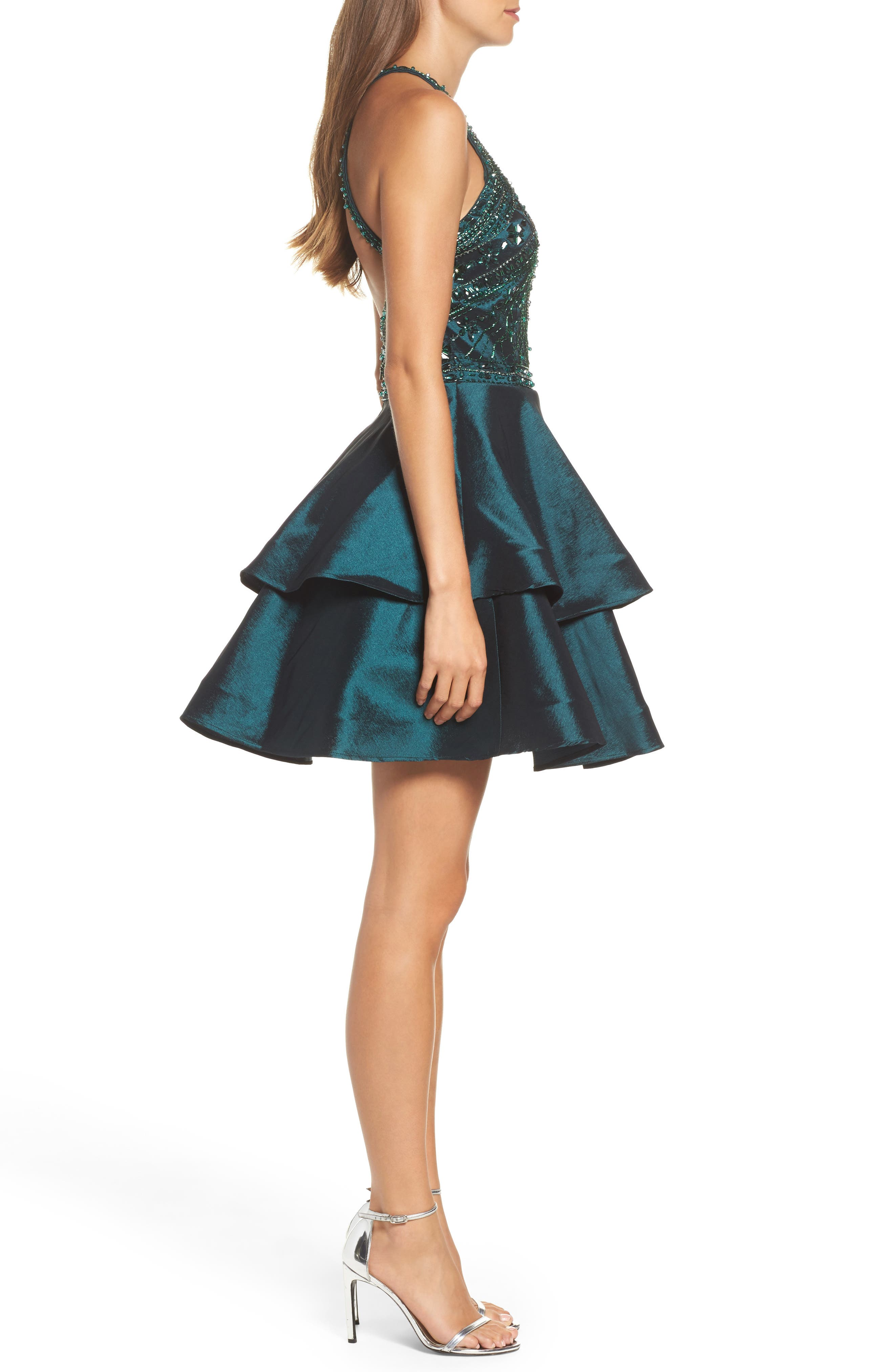 Beaded Tiered Fit & Flare Dress,                             Alternate thumbnail 3, color,                             Forest