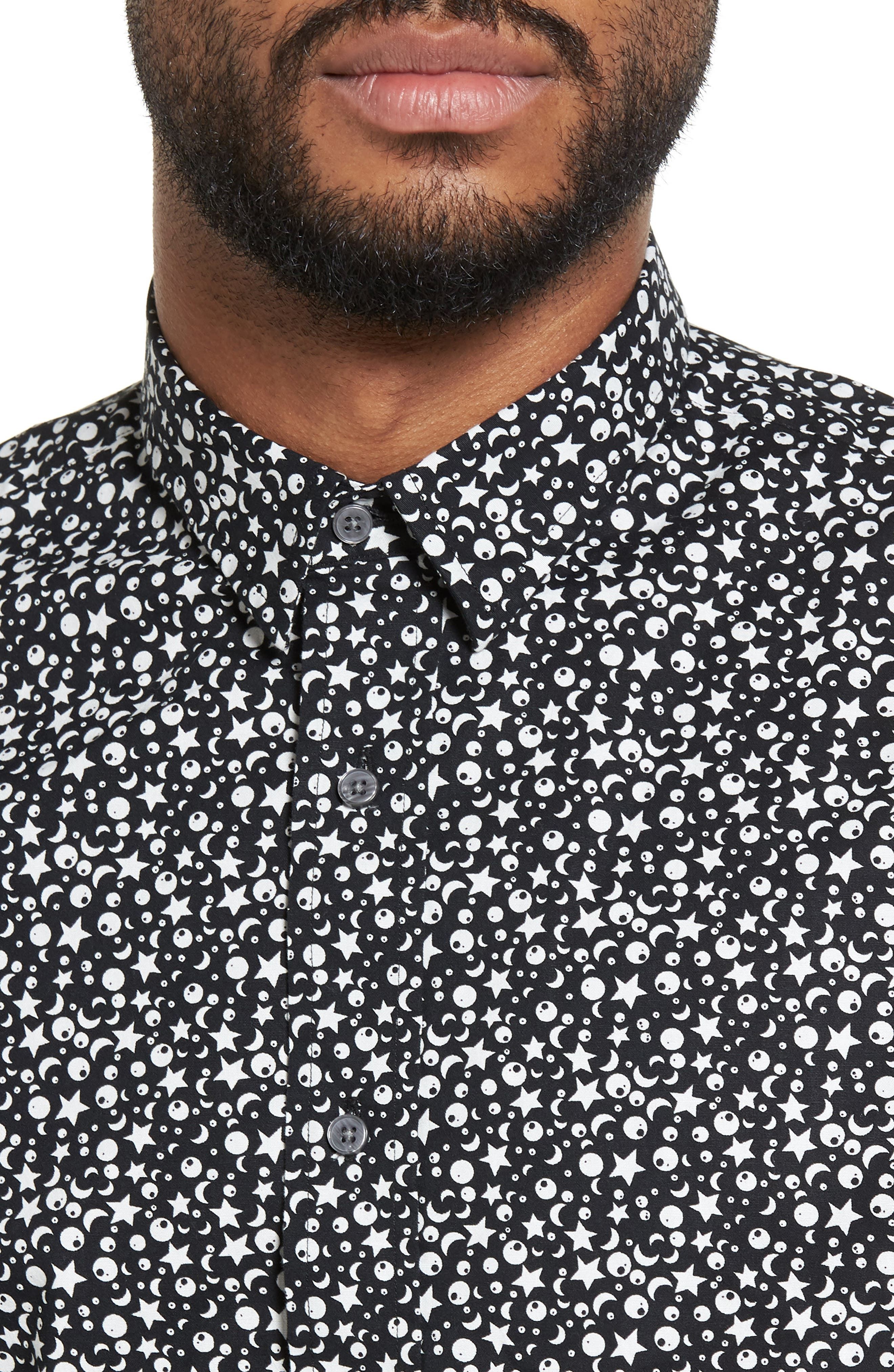 Trim Fit Star Print Sport Shirt,                             Alternate thumbnail 4, color,                             Black Star Print