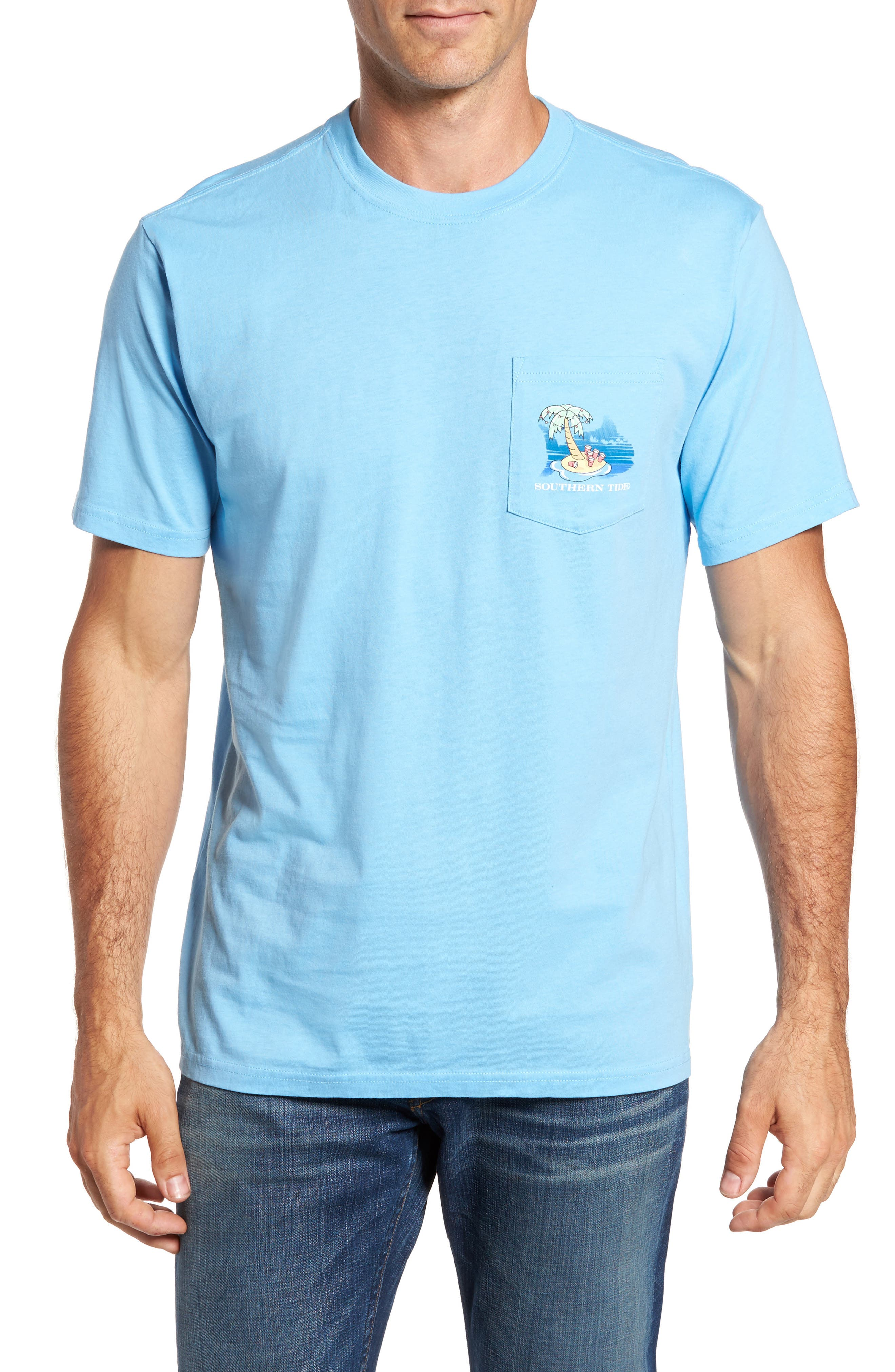 Reindeer Holiday T-Shirt,                         Main,                         color, Ocean Channel
