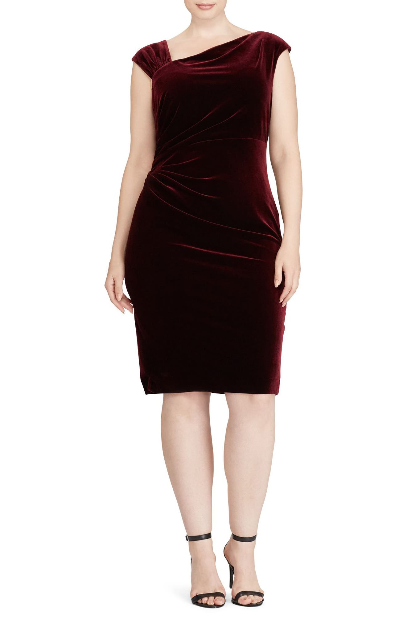 Main Image - Lauren Ralph Lauren Stretch Velvet Sheath Dress (Plus Size)