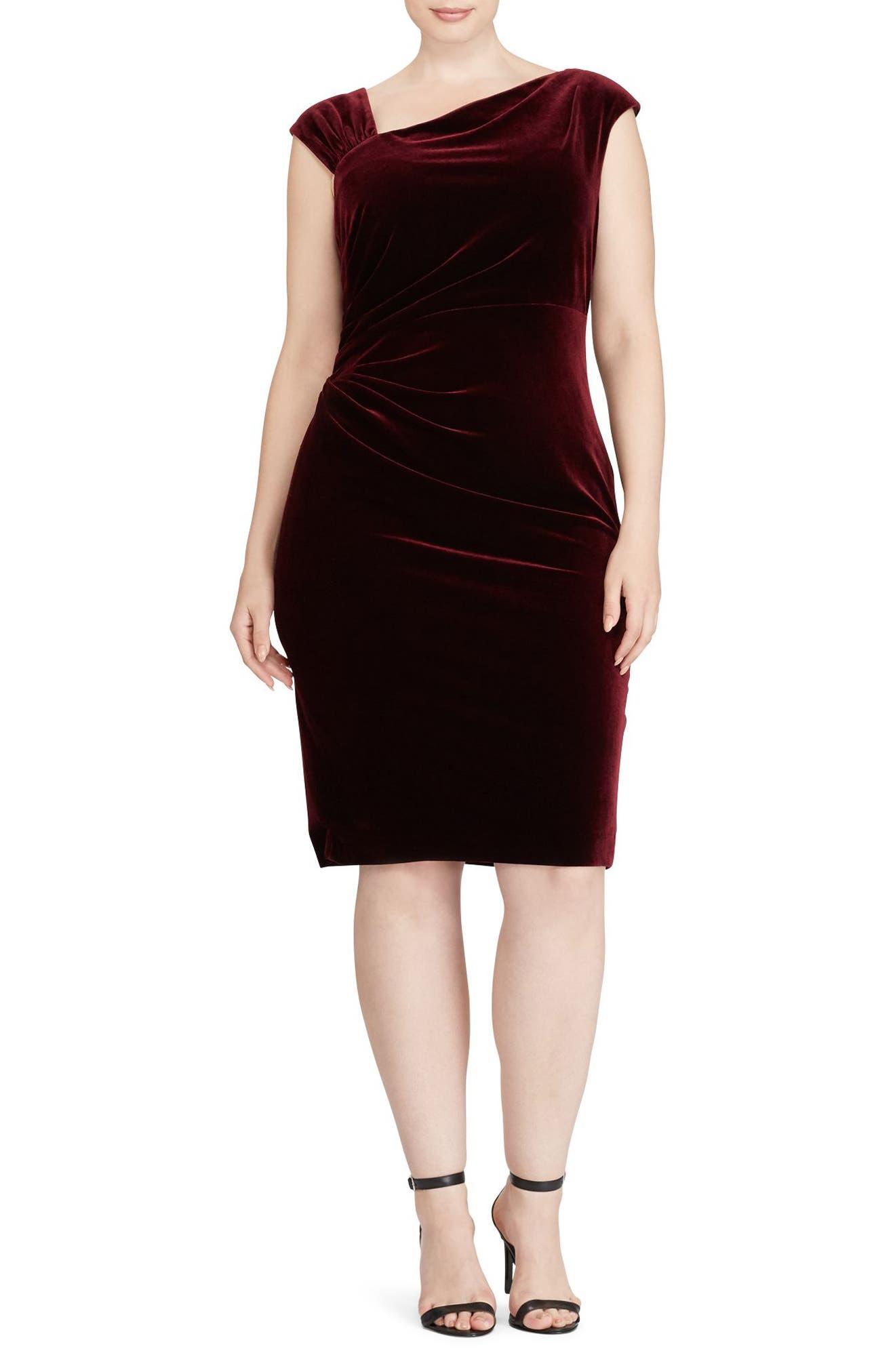 Stretch Velvet Sheath Dress,                         Main,                         color, Cordovan