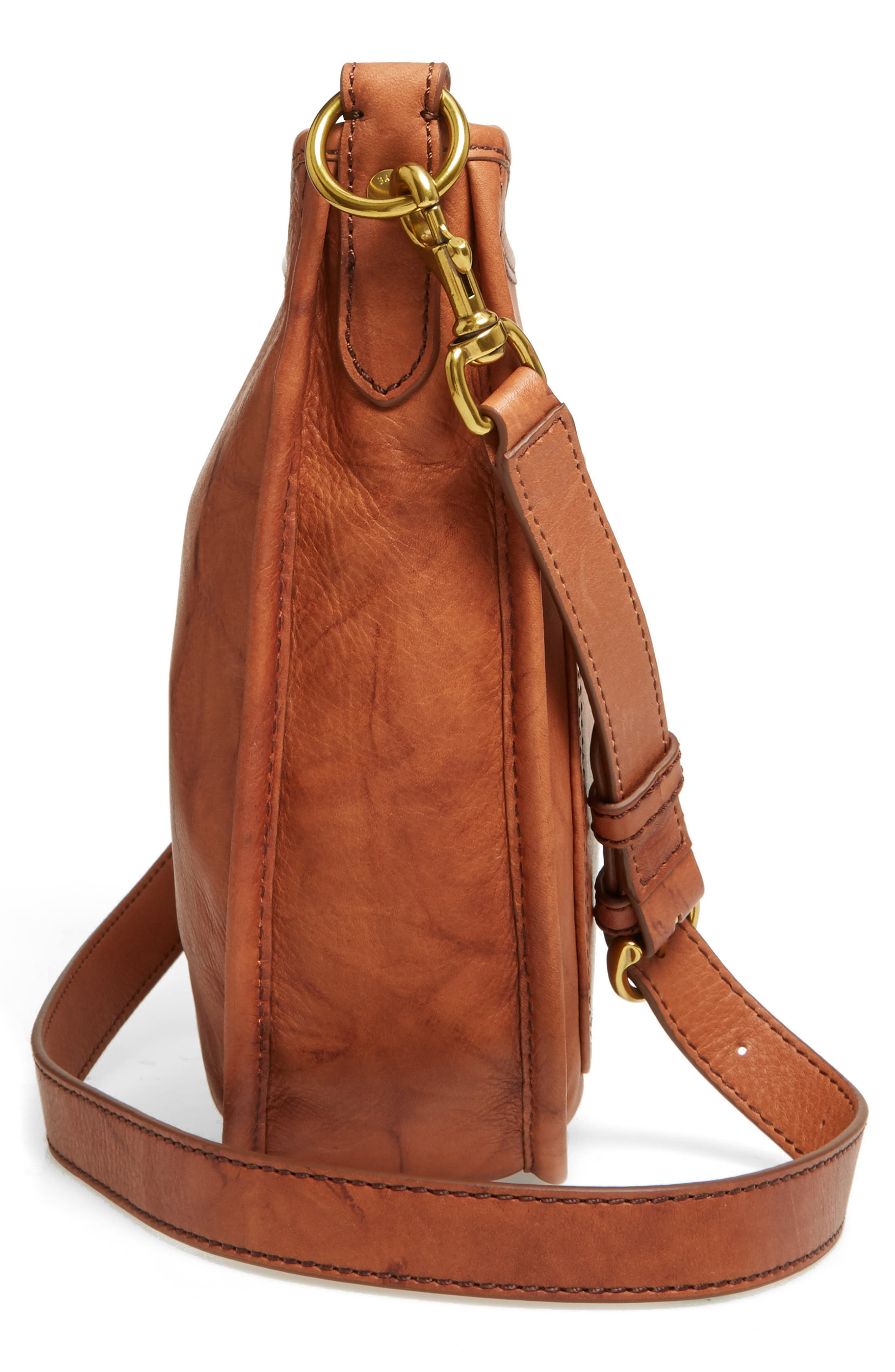 Campus Rivet Leather Crossbody Bag,                             Alternate thumbnail 3, color,                             Saddle