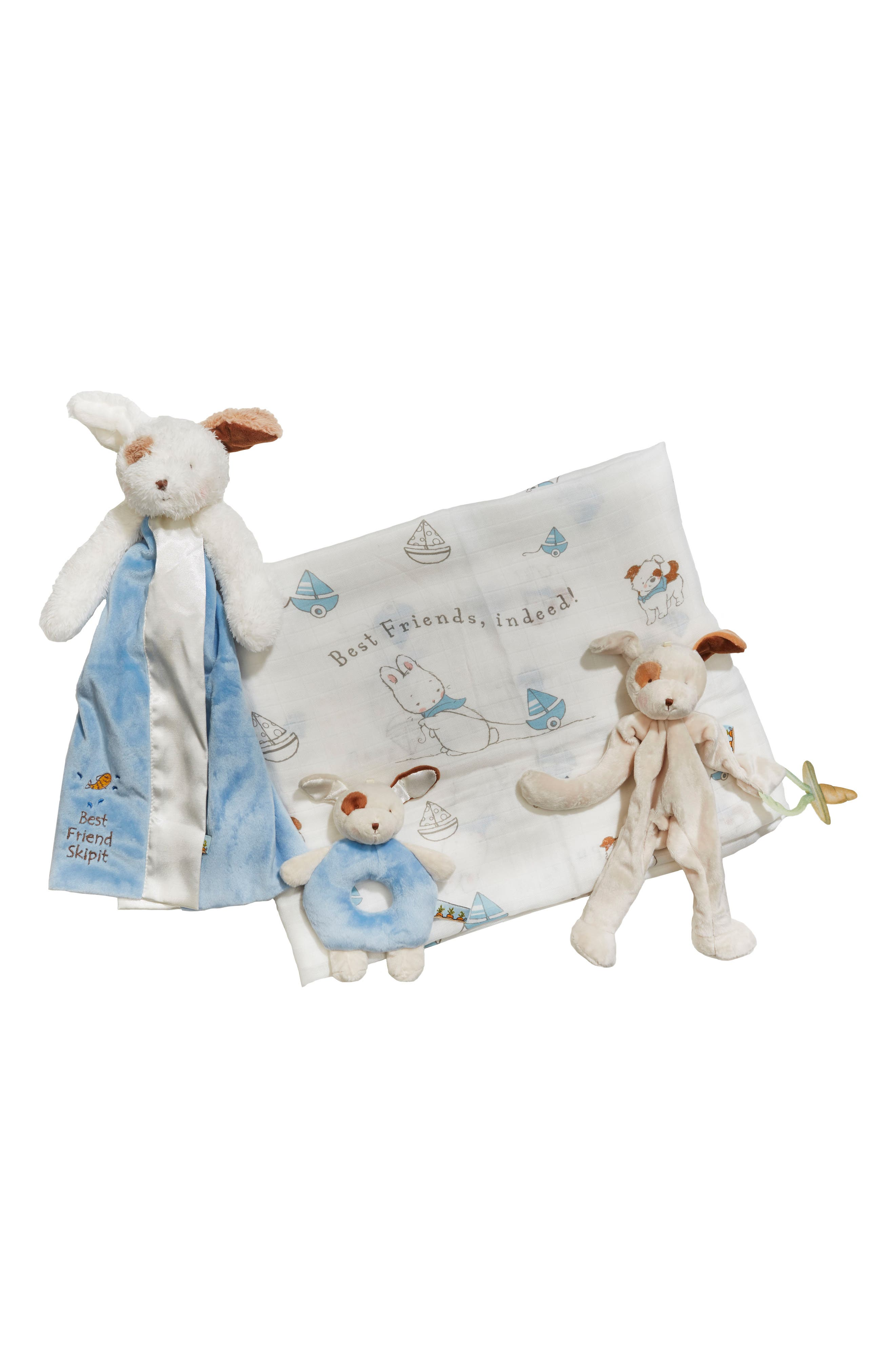 Bunnies By The Bay Swaddle, Buddy Blanket, Pacifier Holder & Teething Ring Rattle Set (Baby Boys)