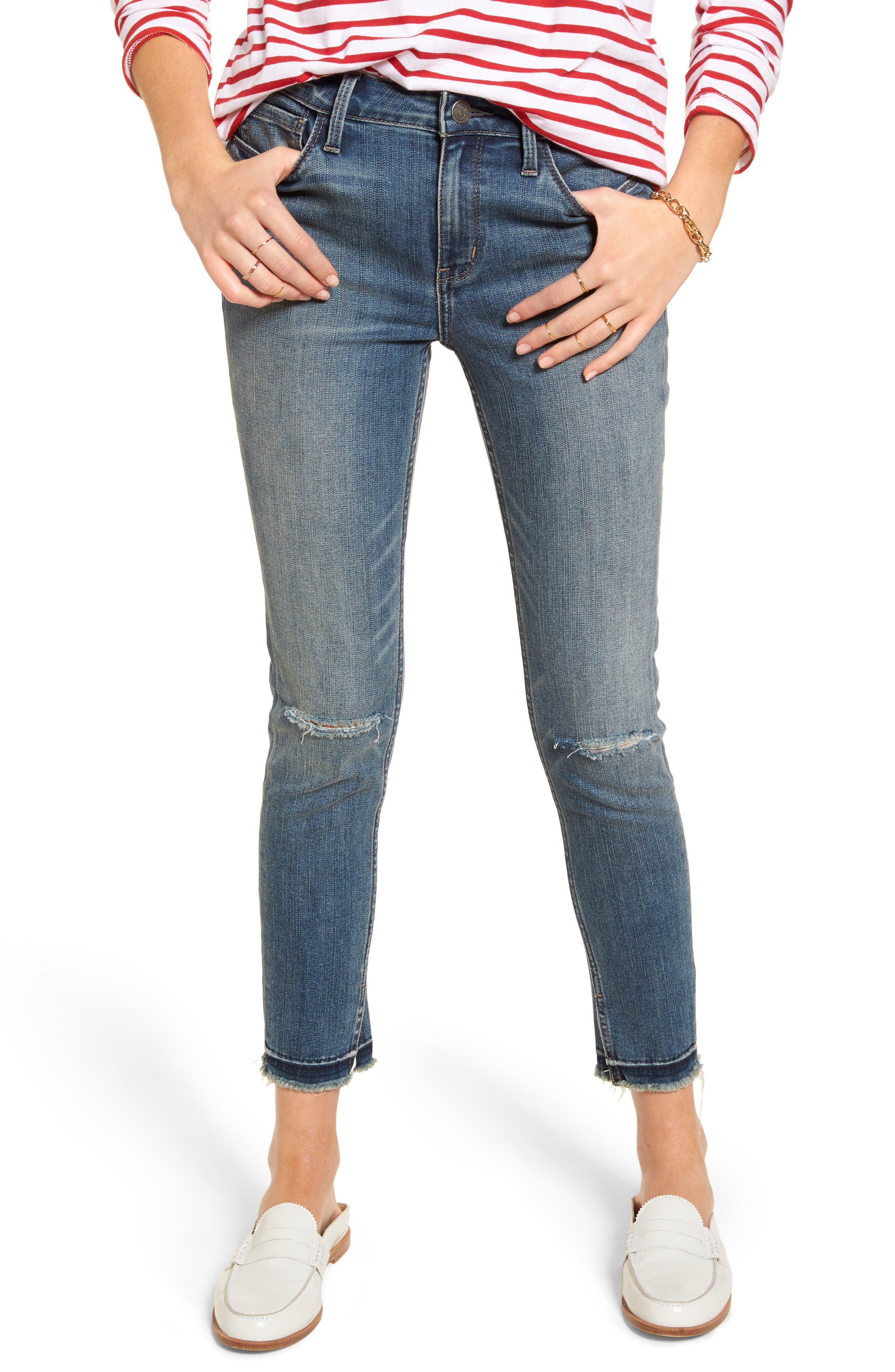 Alternate Image 1 Selected - Treasure & Bond Ankle Skinny Jeans (Rain Dusk Destroy)