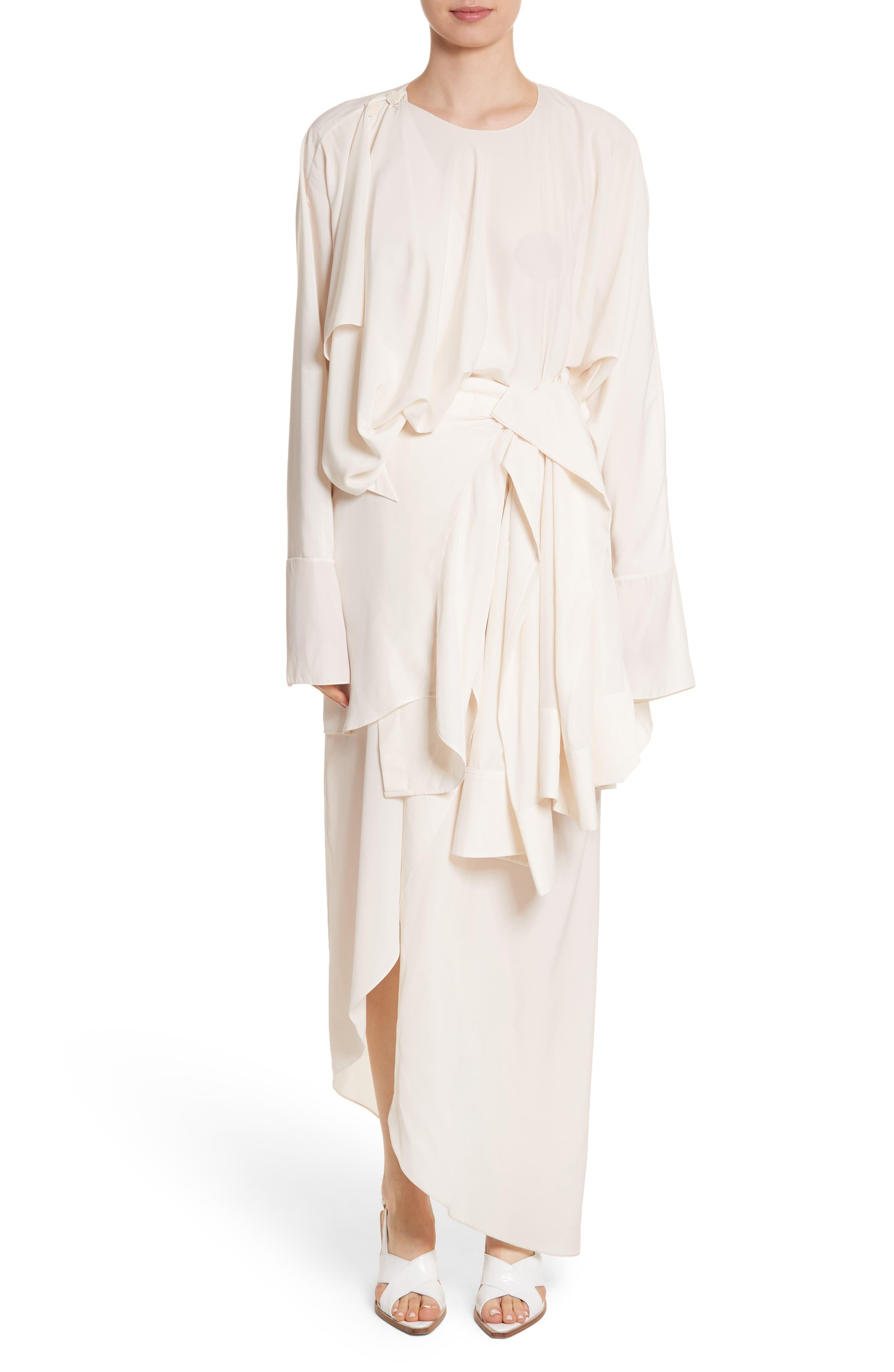 Asymmetrical Draped Dress,                         Main,                         color, Cream