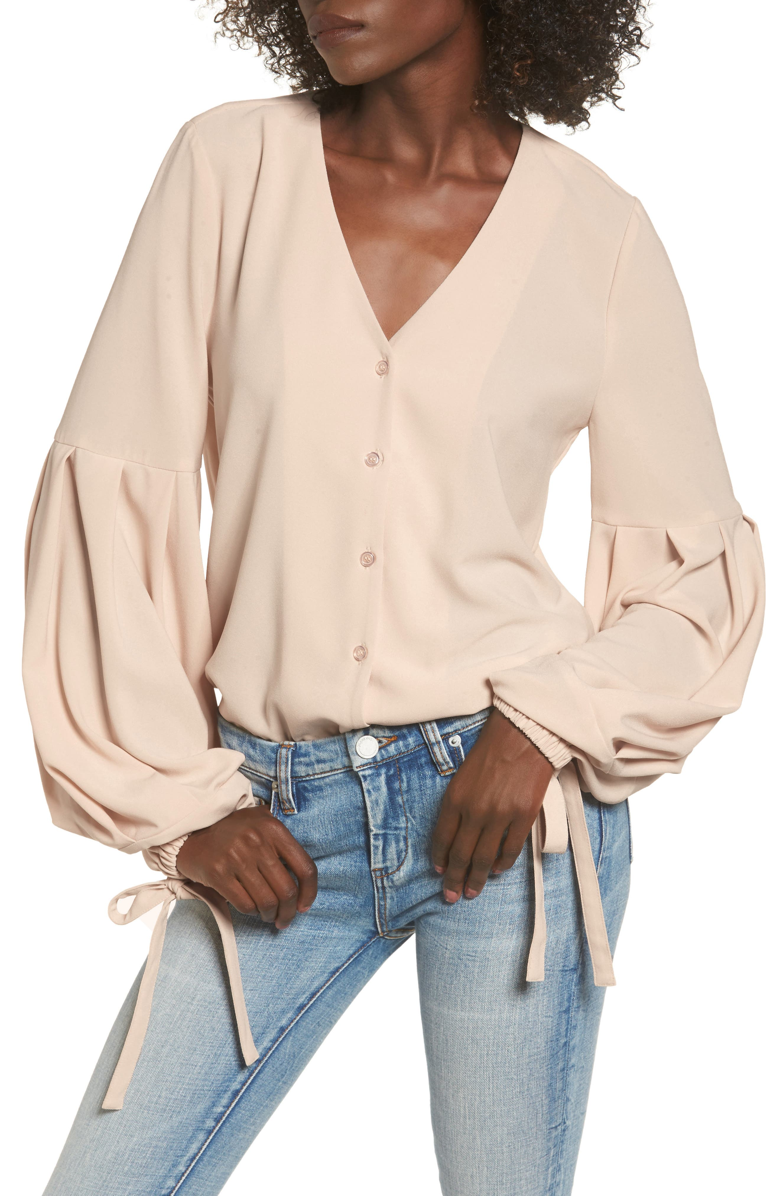Balloon Sleeve Blouse,                         Main,                         color, Ivory