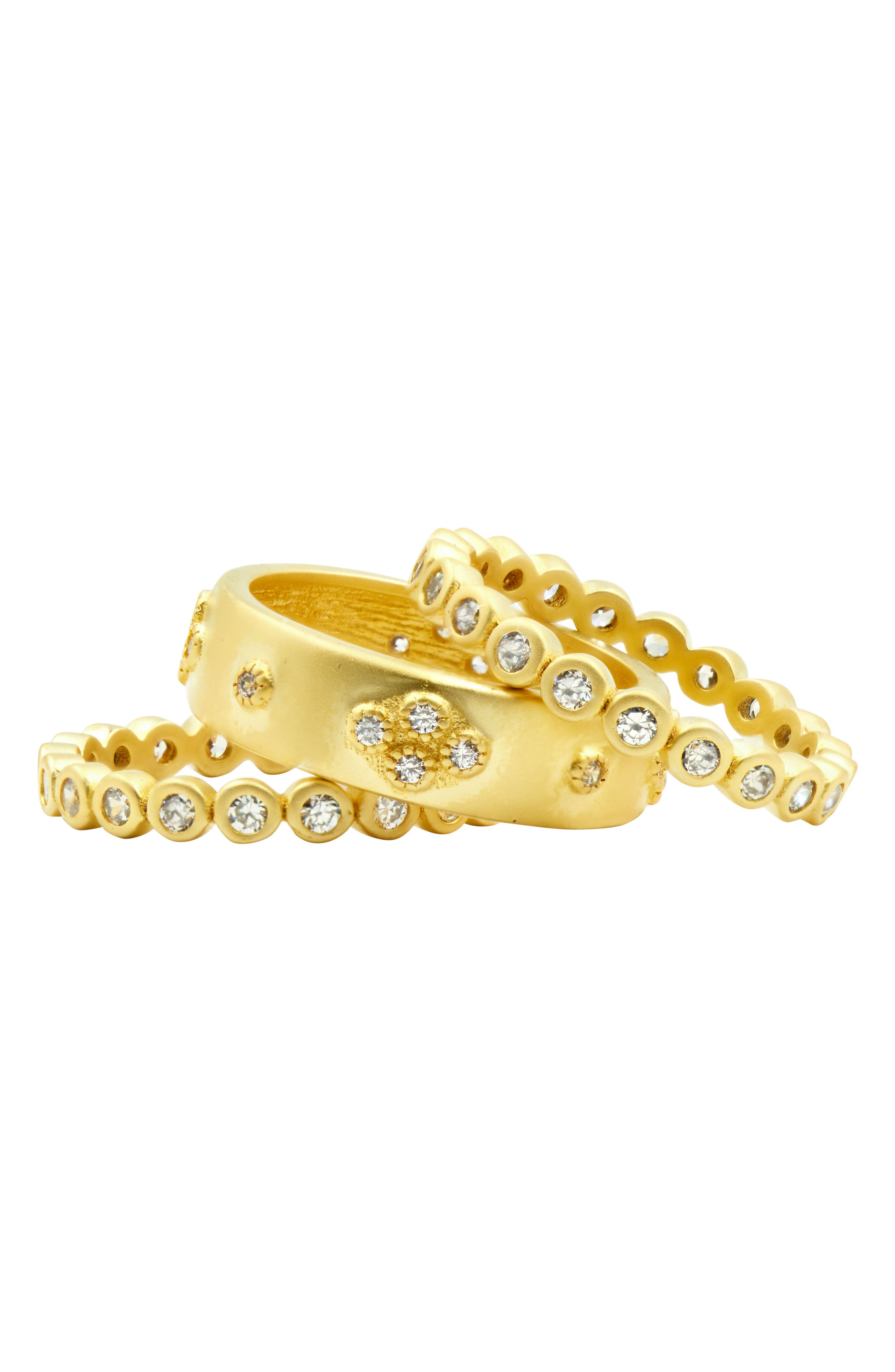 Audrey Set of 3 Cubic Zirconia Stacking Rings,                             Alternate thumbnail 4, color,                             Gold/ Clear