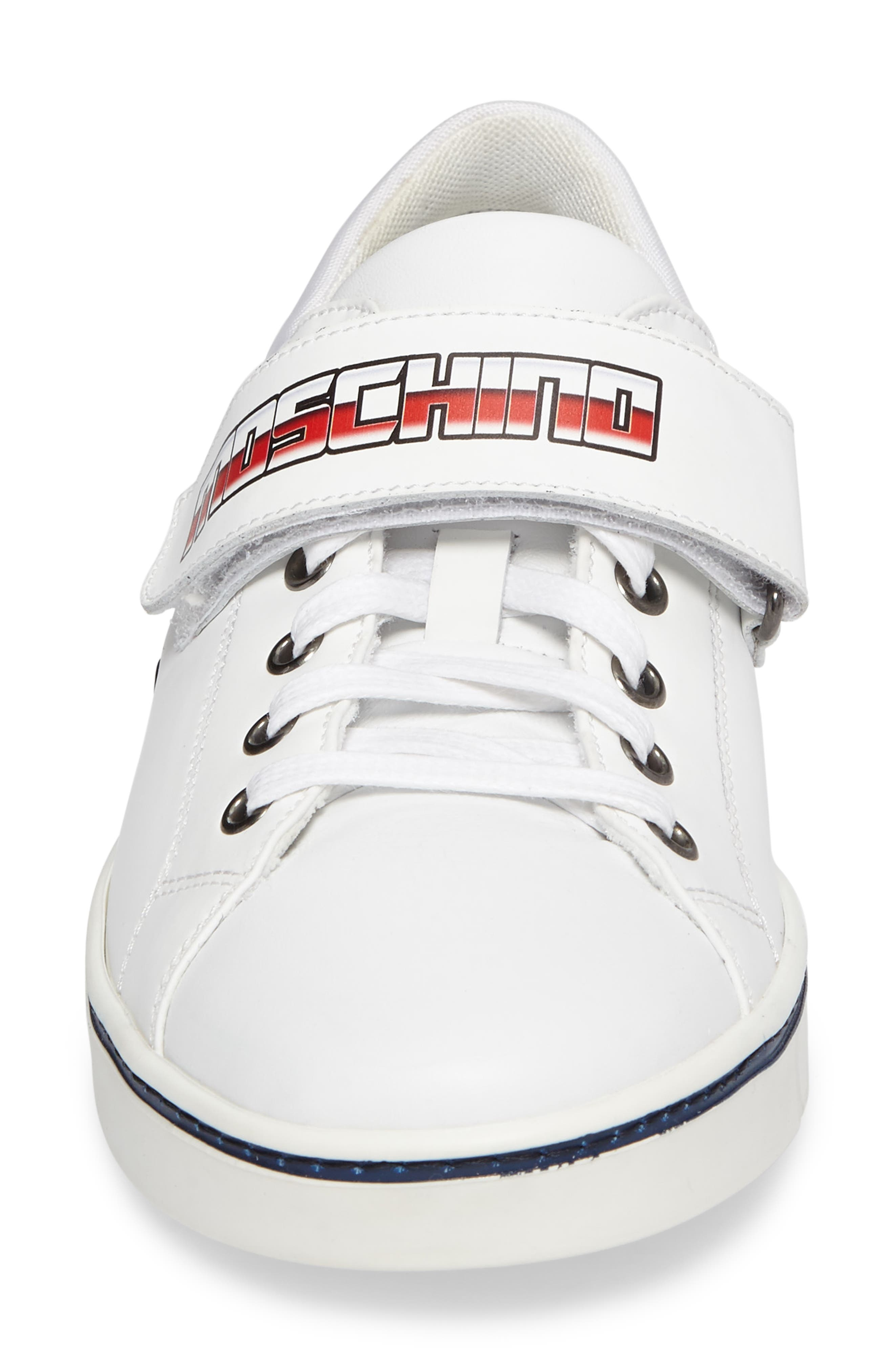Strap Sneaker,                             Alternate thumbnail 4, color,                             White Leather