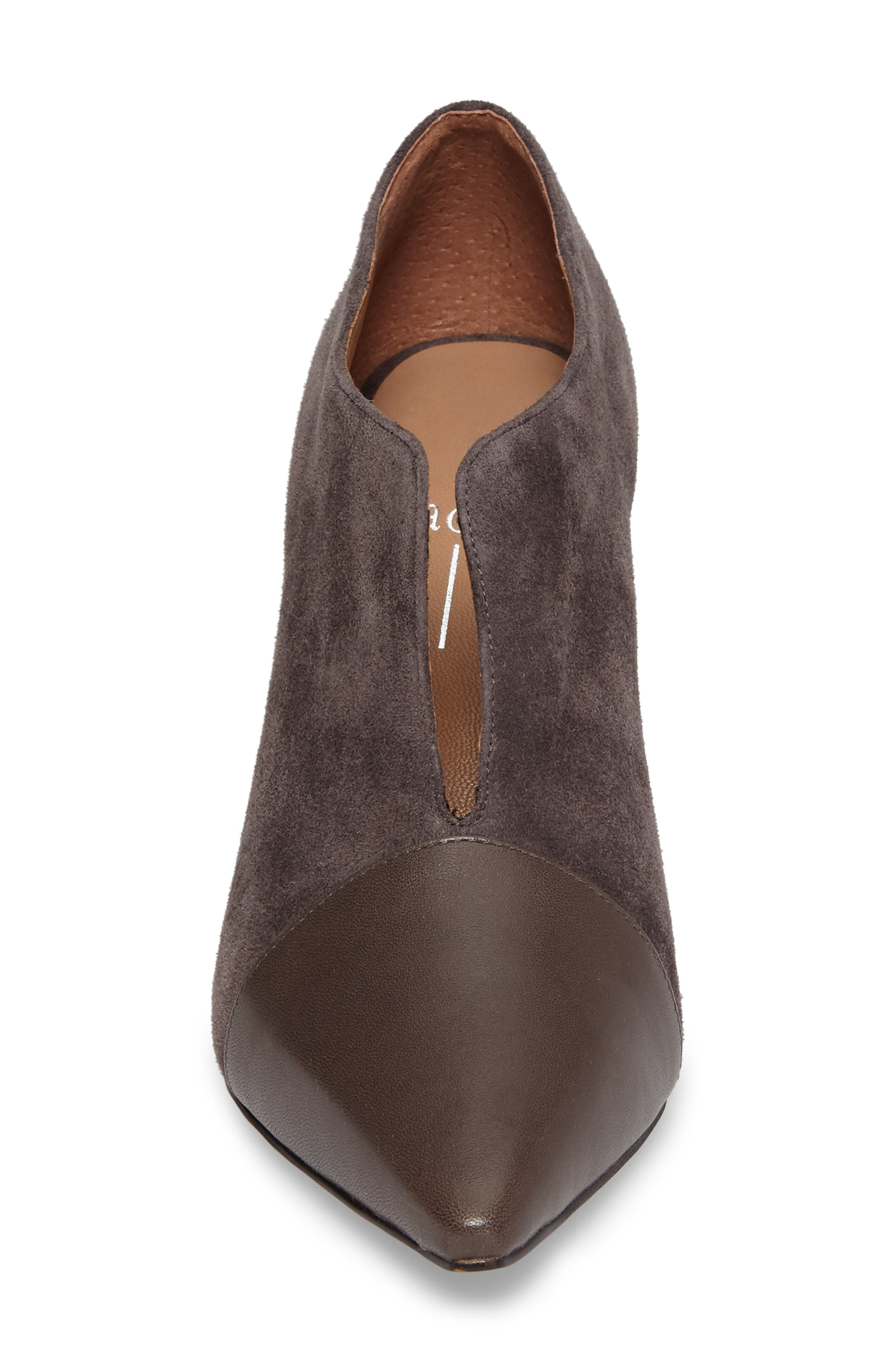 Pointy Toe Bootie,                             Alternate thumbnail 4, color,                             Ash Suede