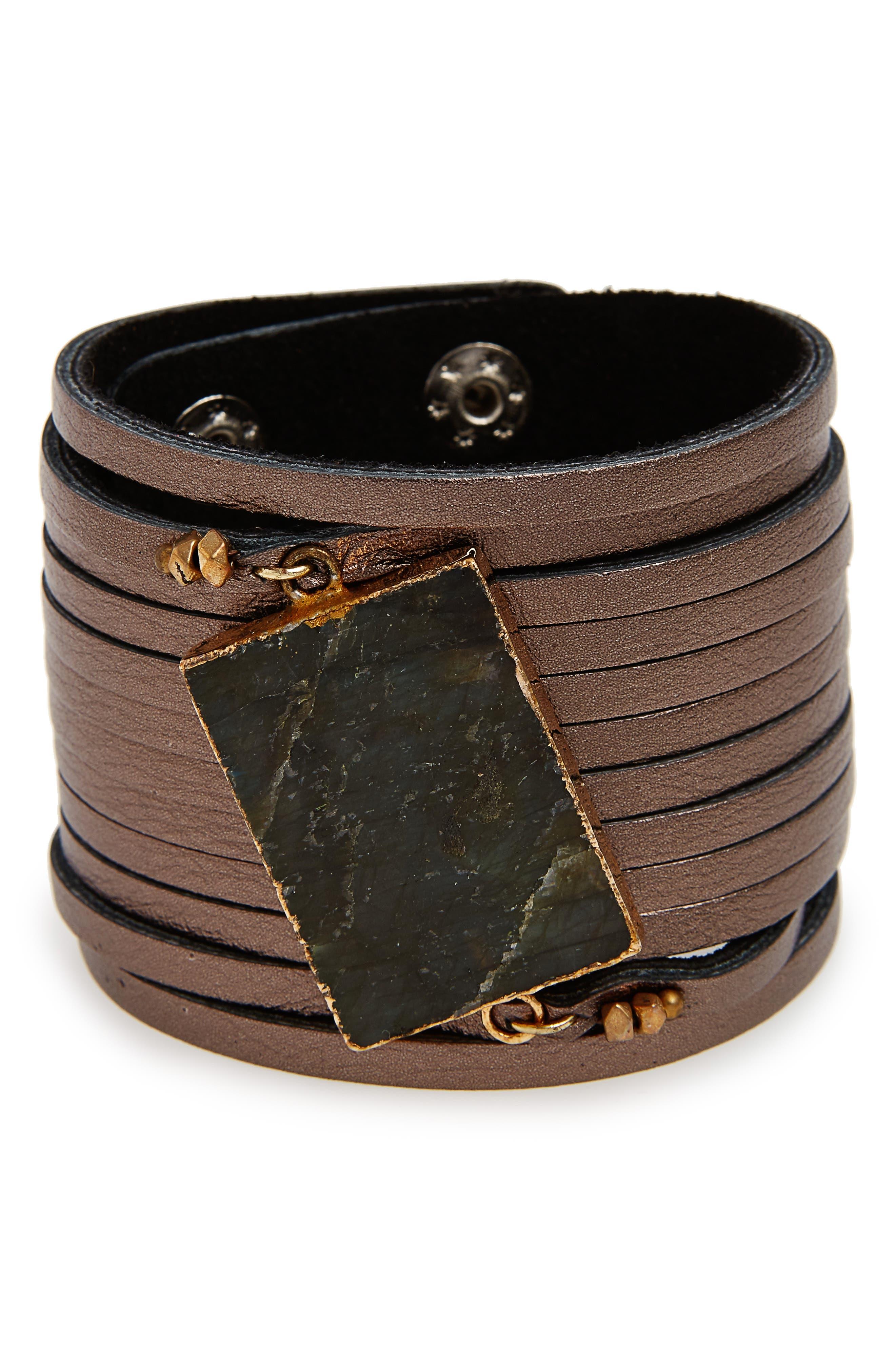 Nakamol Design Shredded Leather & Labradorite Cuff Bracelet