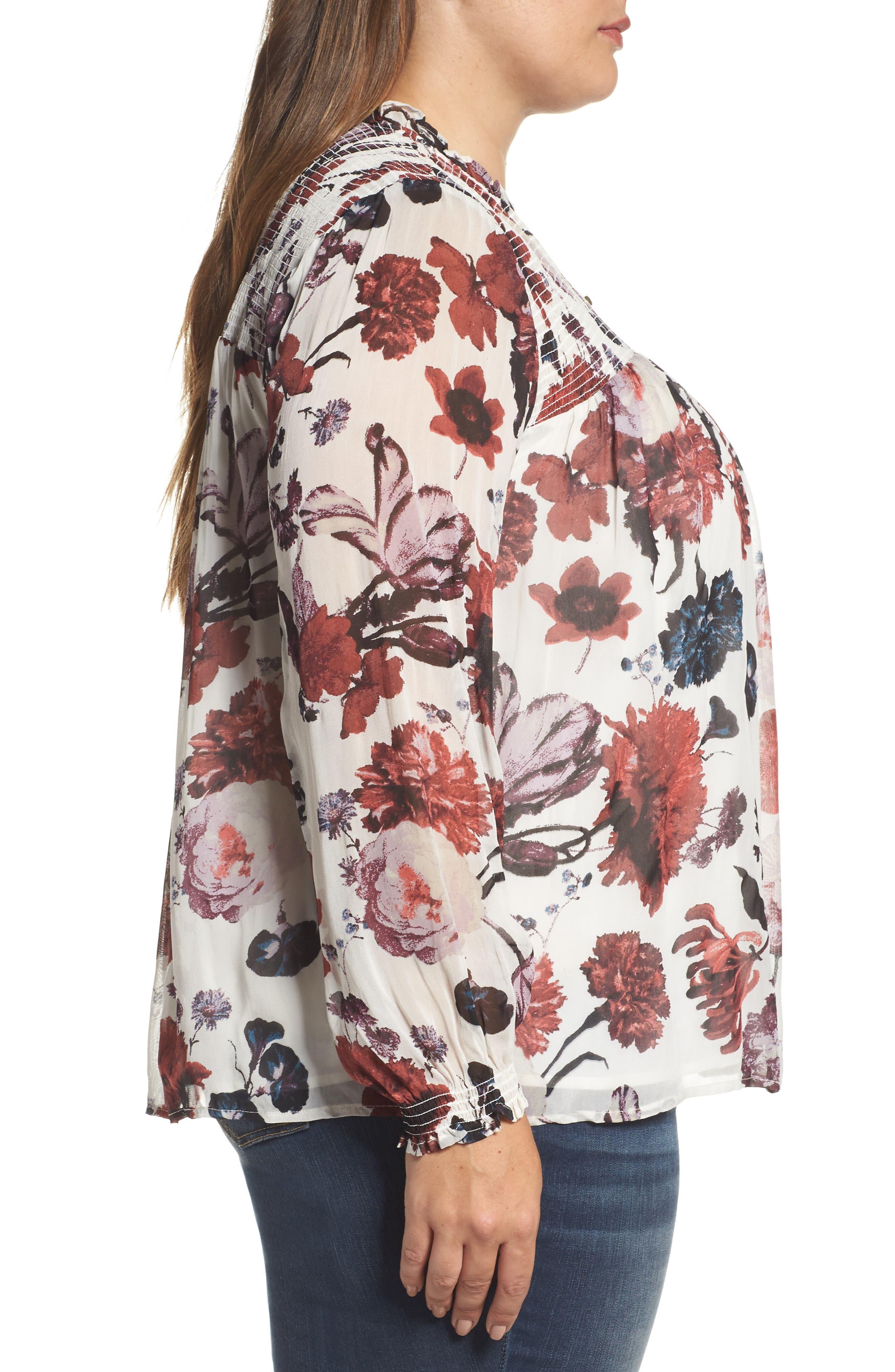Alternate Image 3  - Lucky Brand Smock Yoke Floral Top (Plus Size)