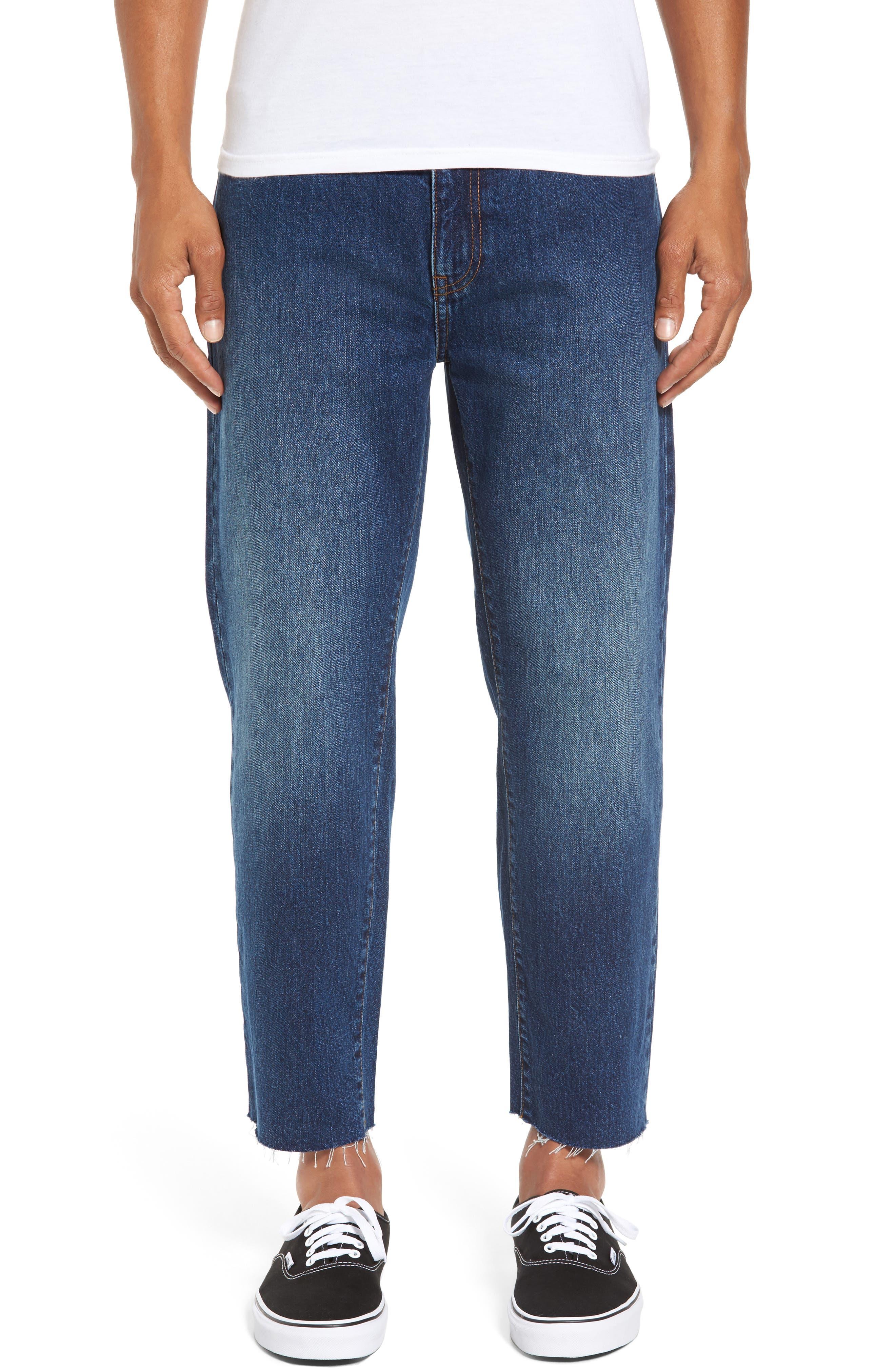 Otis Straight Fit Crop Jeans,                             Main thumbnail 1, color,                             Worn Mid Blue Raw Hem