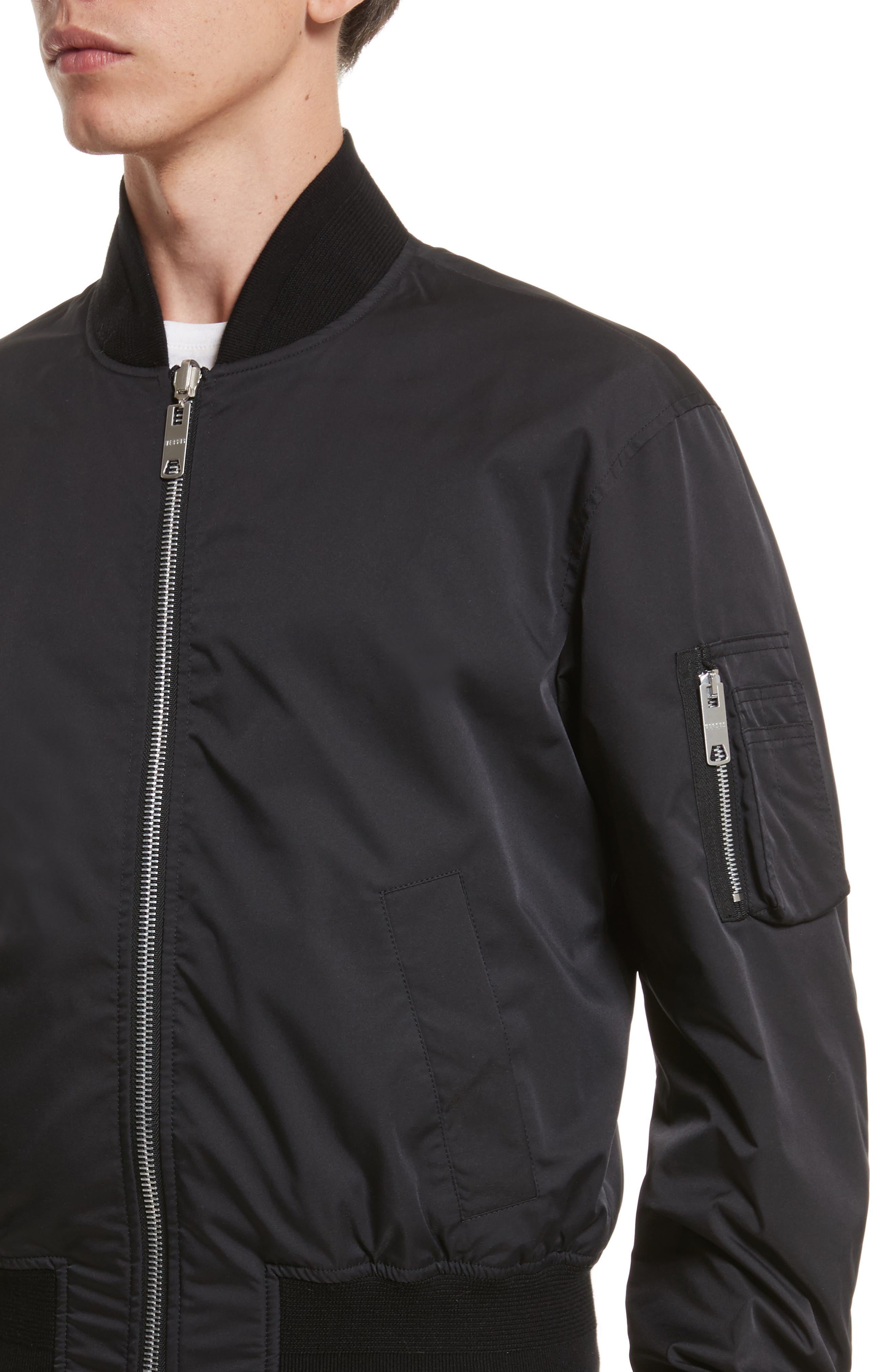 VERSUS by Versace Reversible Pinstripe Bomber Jacket,                             Alternate thumbnail 4, color,                             Black