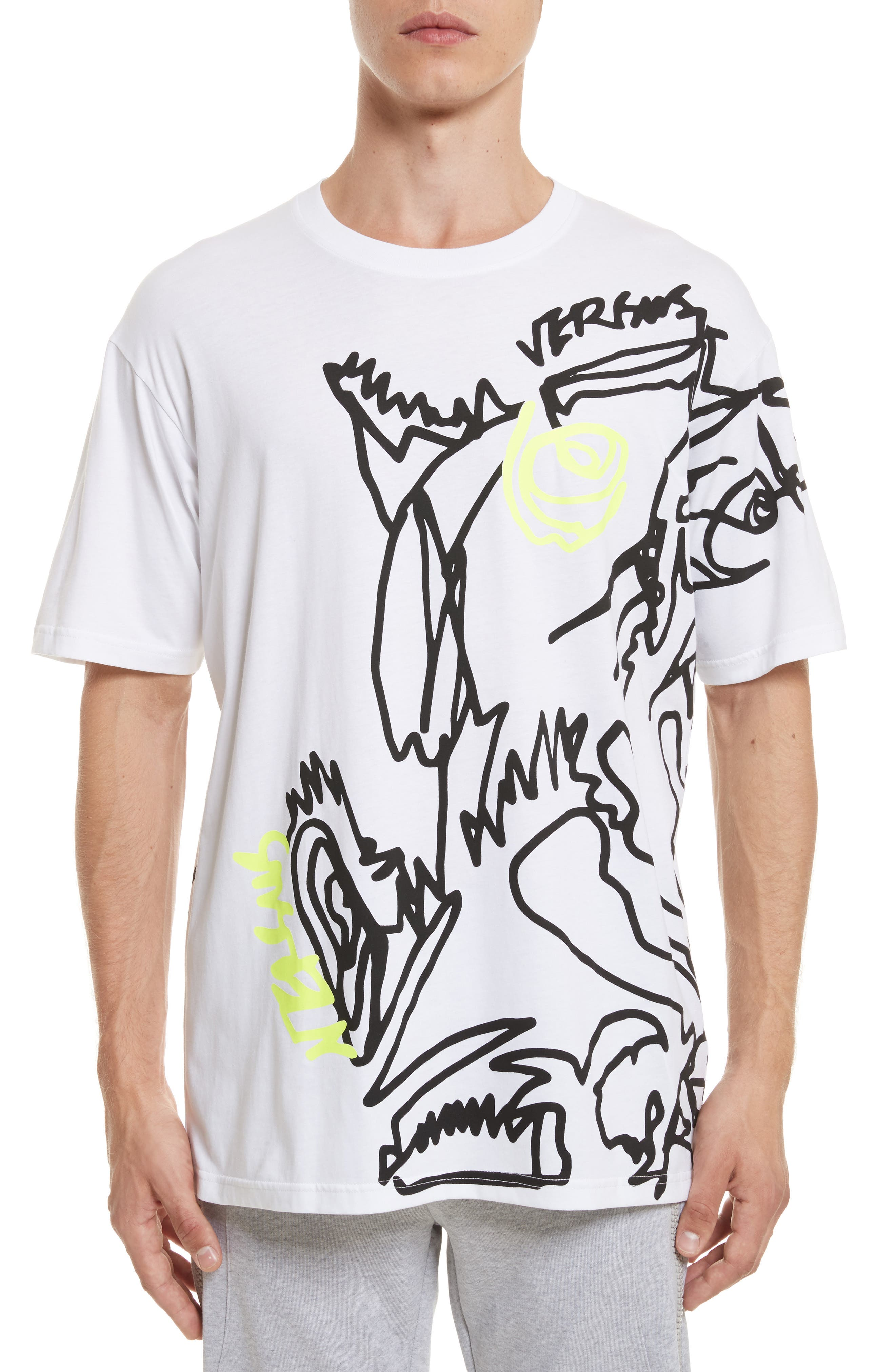 VERSUS by Versace Scribble Print T-Shirt,                         Main,                         color, White