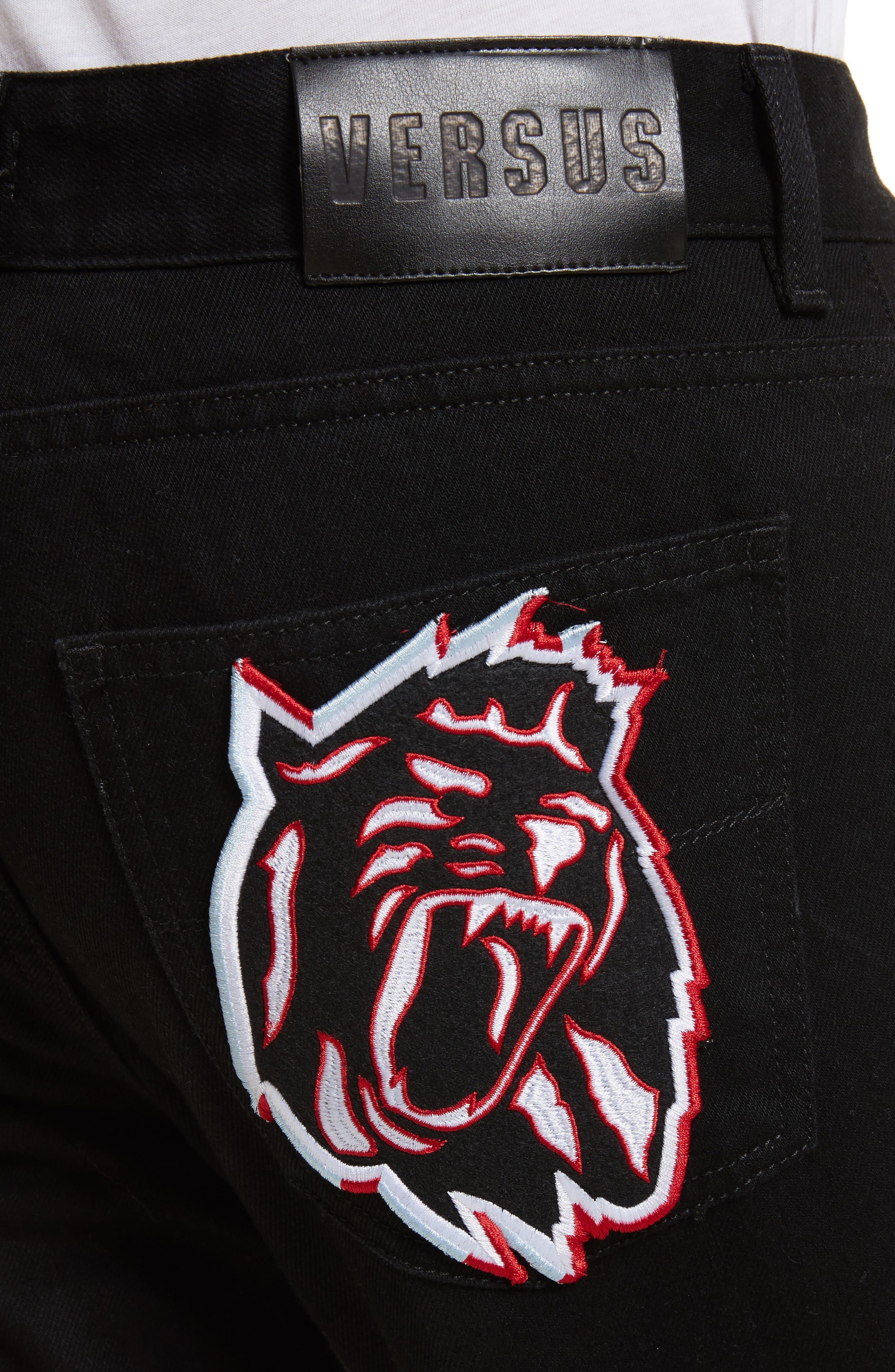 VERSUS by Versace Lion Slim Fit Jeans,                             Alternate thumbnail 4, color,                             Black